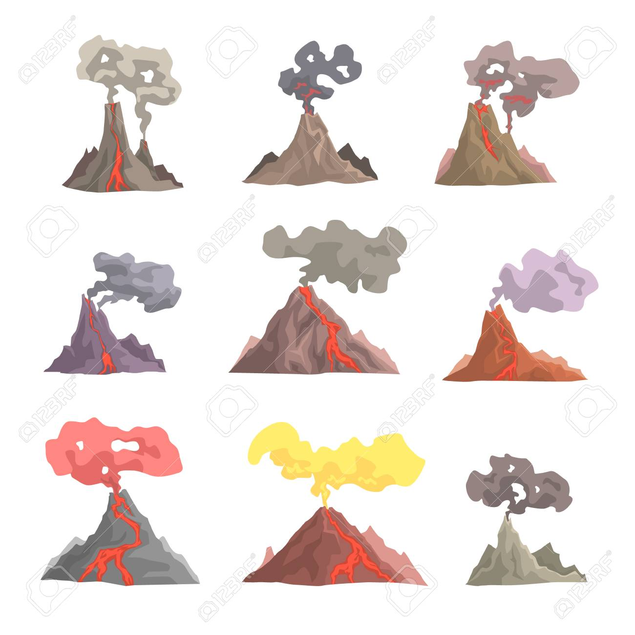 Volcan Erupcion Conjunto Volcanico Magma Explotar Lava Fluir Abajo