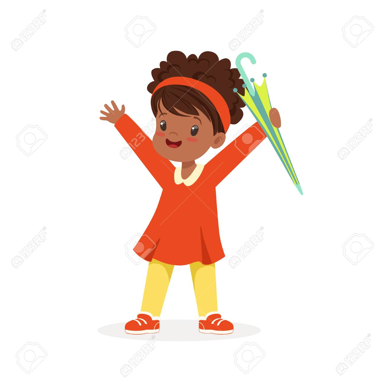 Mignonne Heureuse Petite Fille Noire Debout Et Tenant Le Vecteur De Dessin Animé De Parapluie Illustration Sur Fond Blanc