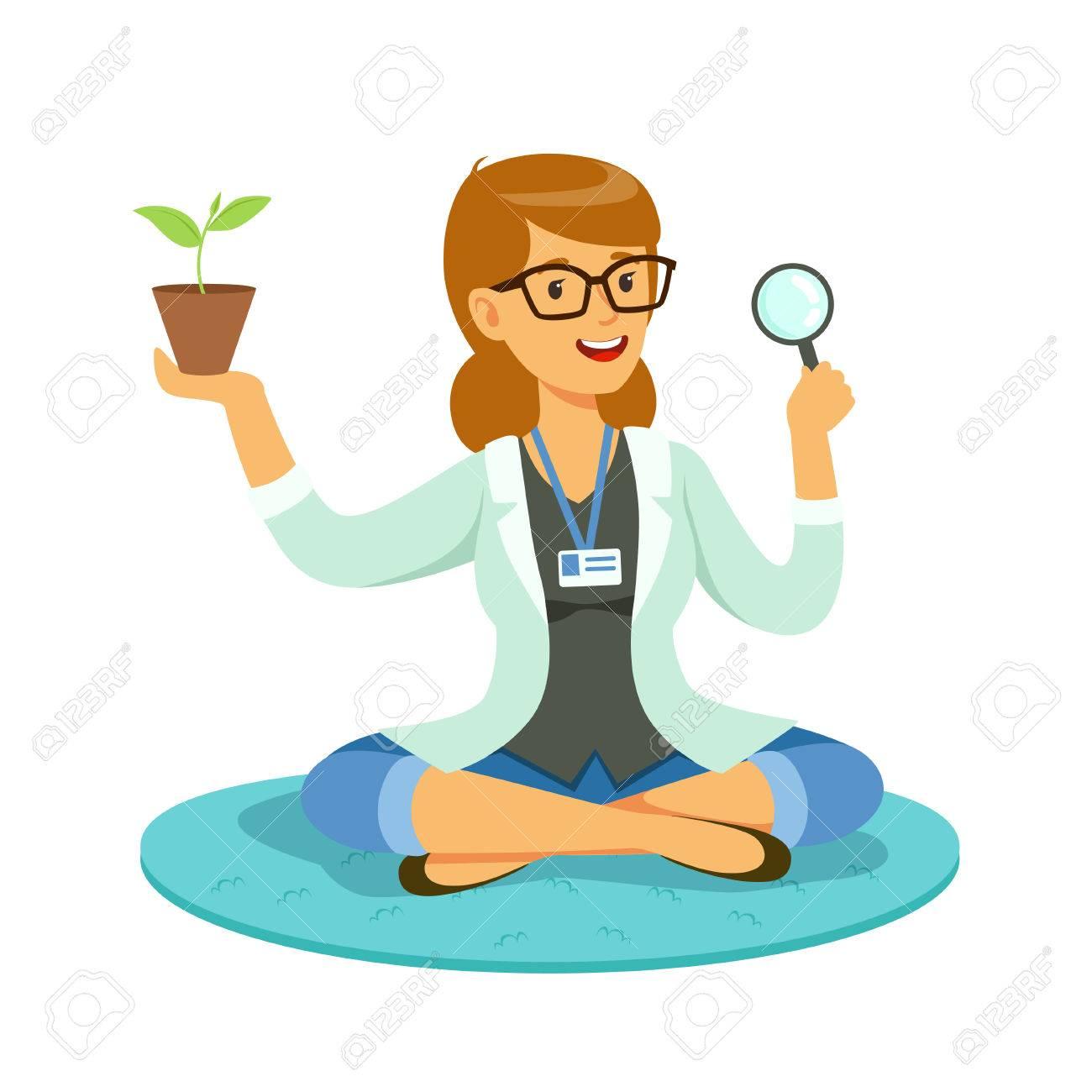 Mujer Maestra O Científico Examinar Una Planta A Través De Una ...