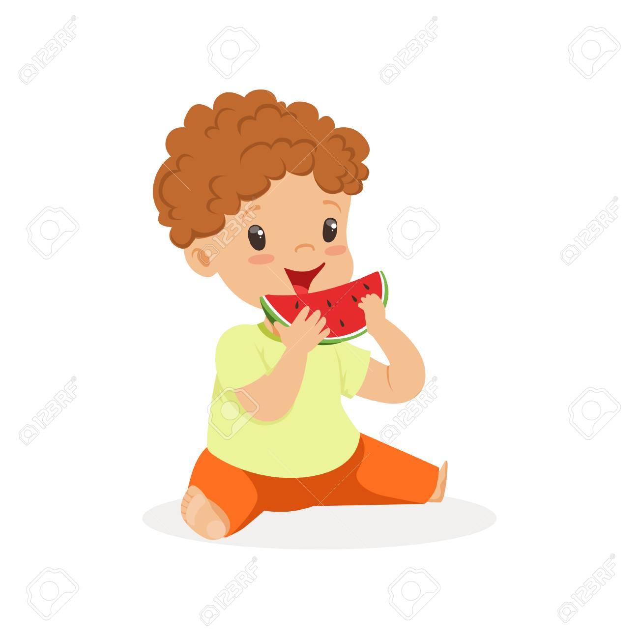 Mignon Petit Personnage De Garçon Rousse Appréciant Manger Vecteur