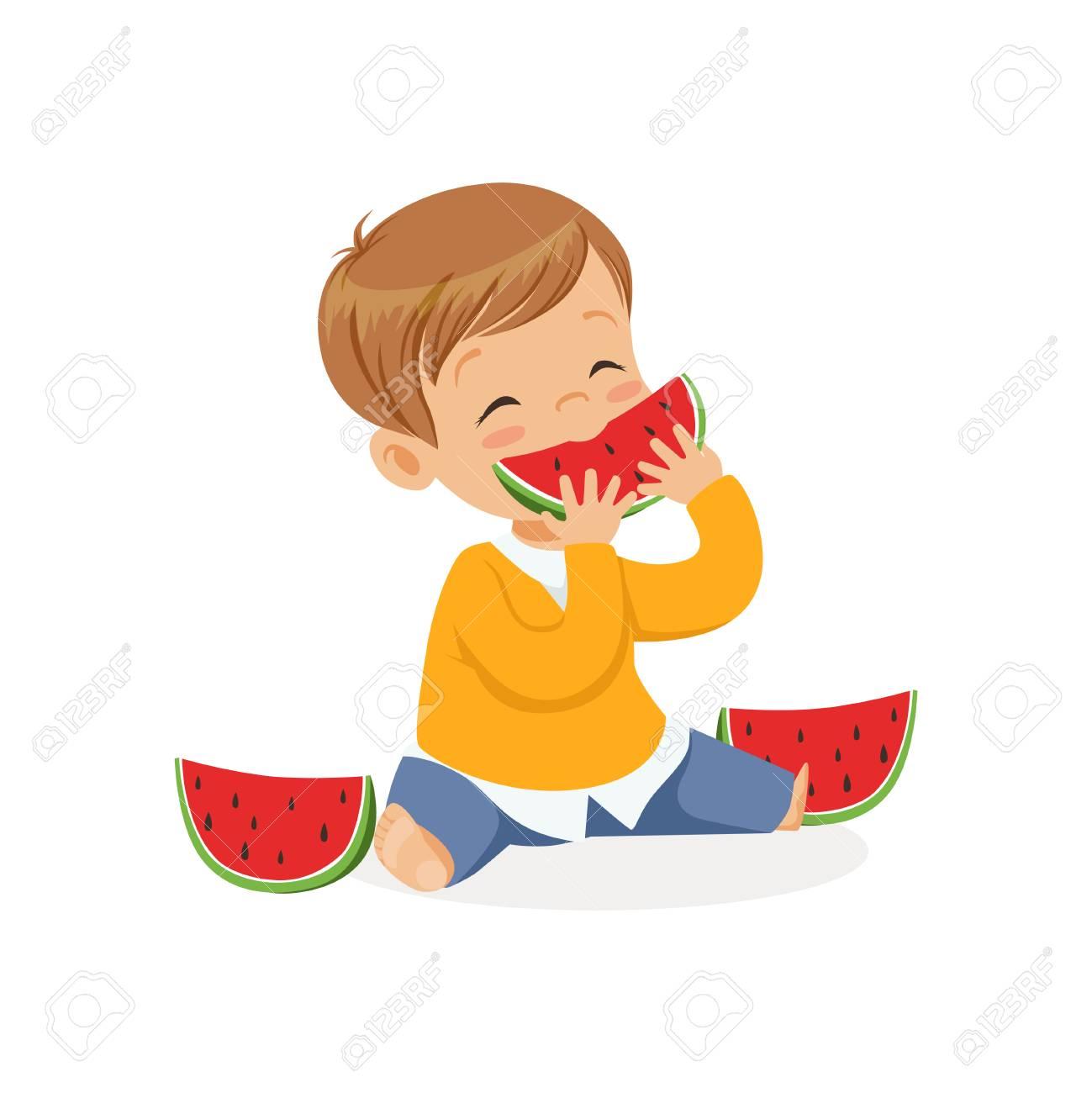 Lindo Niño Pequeño Personaje Disfrutando Comiendo Sandía Vector De
