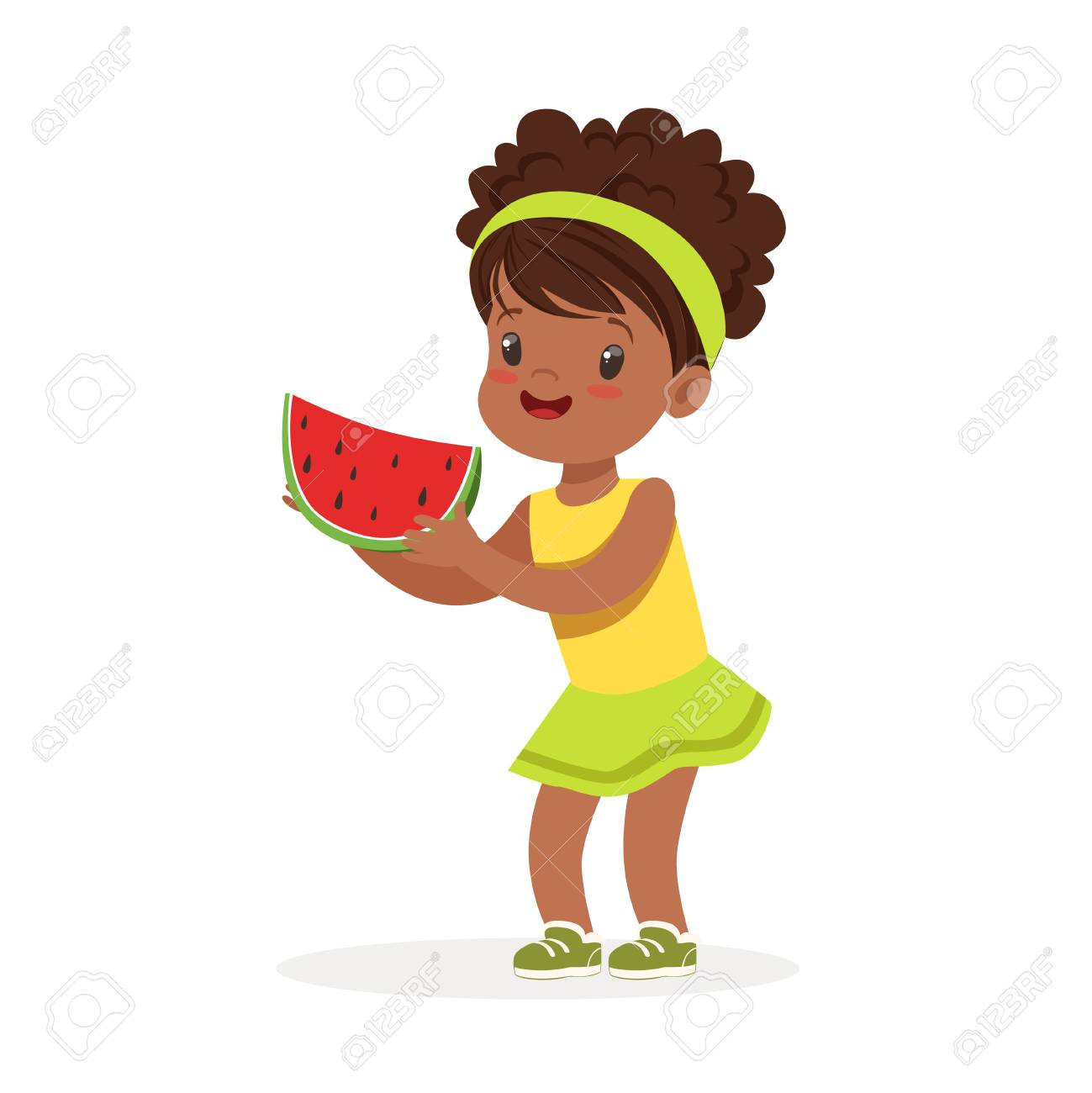Douce Petite Fille Africaine Appréciant Manger Le Vecteur De Dessin Animé De Pastèque Illustration
