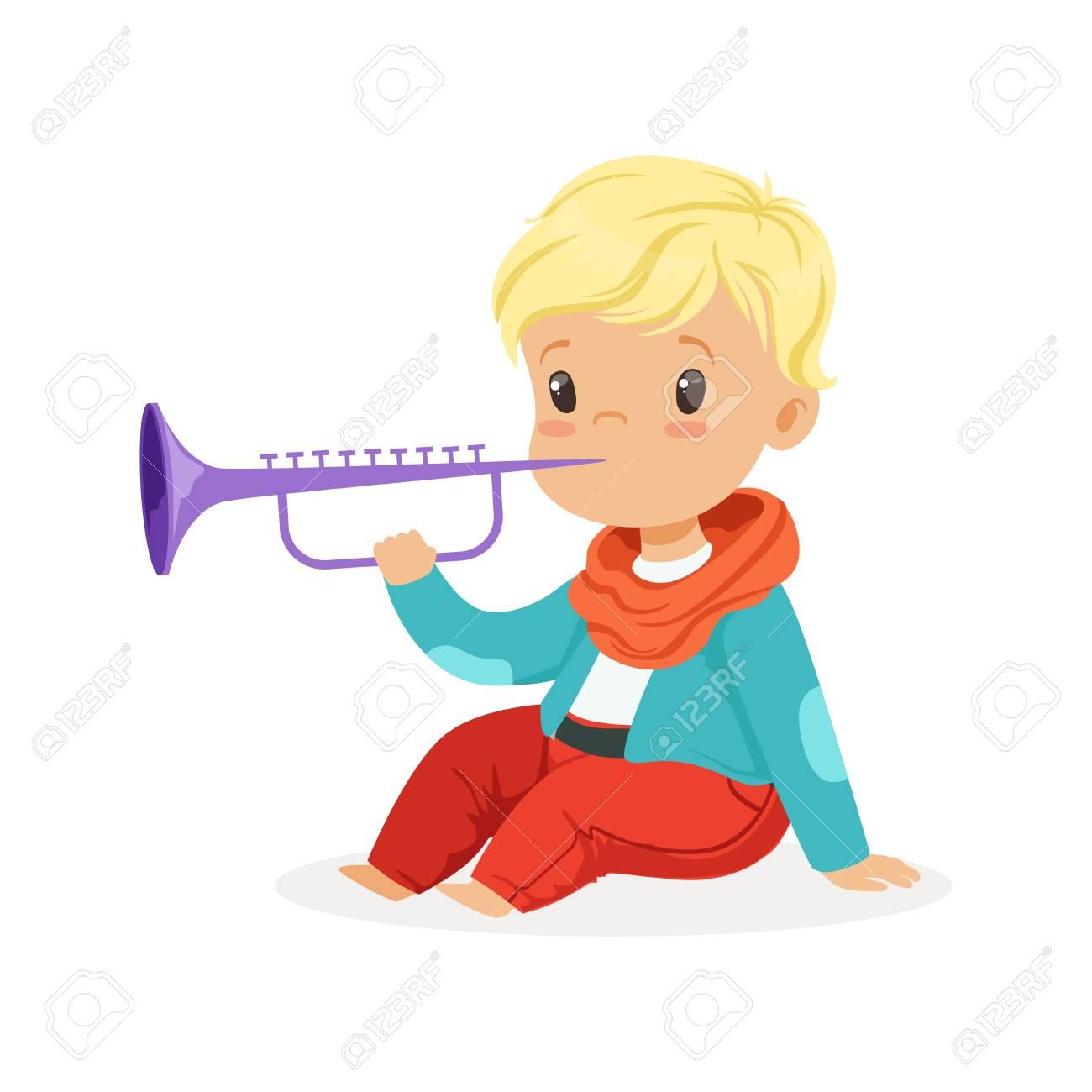 Mignon Petit Garçon Blond Jouant De La Clarinette Jeune Musicien Avec Instrument De Musique Jouet éducation Musicale Pour Vecteur De Dessin Animé