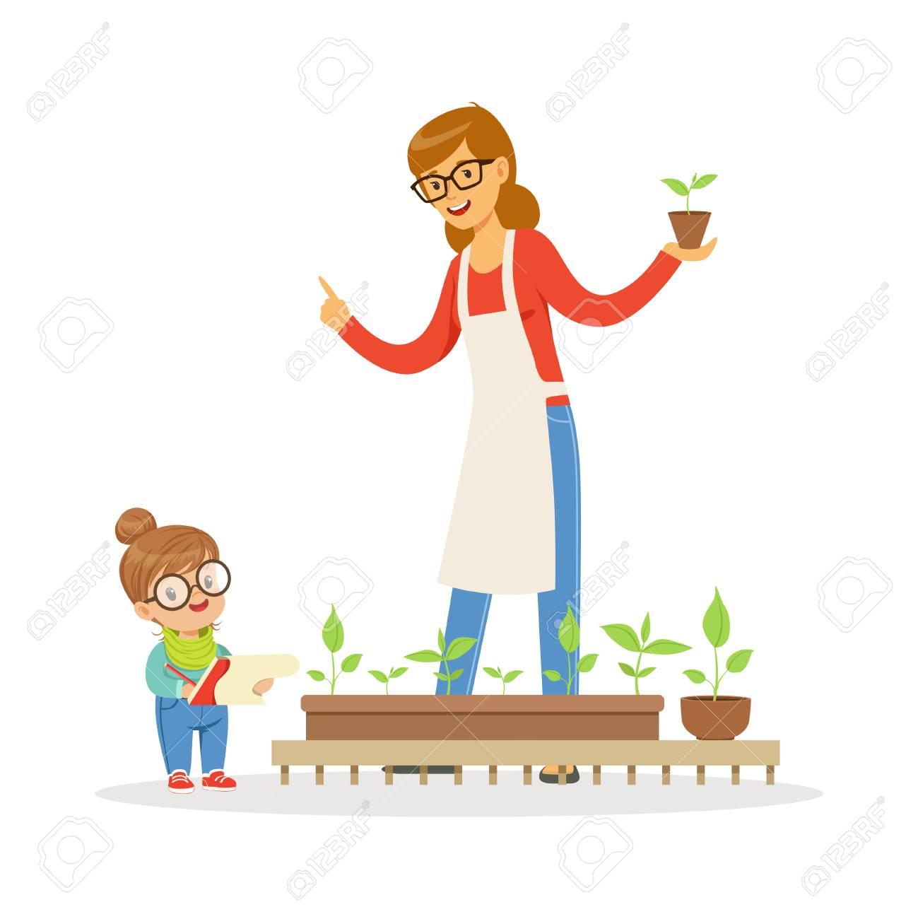 かわいい女の子幼稚園漫画ベクトル イラスト白い背景の上に植物学