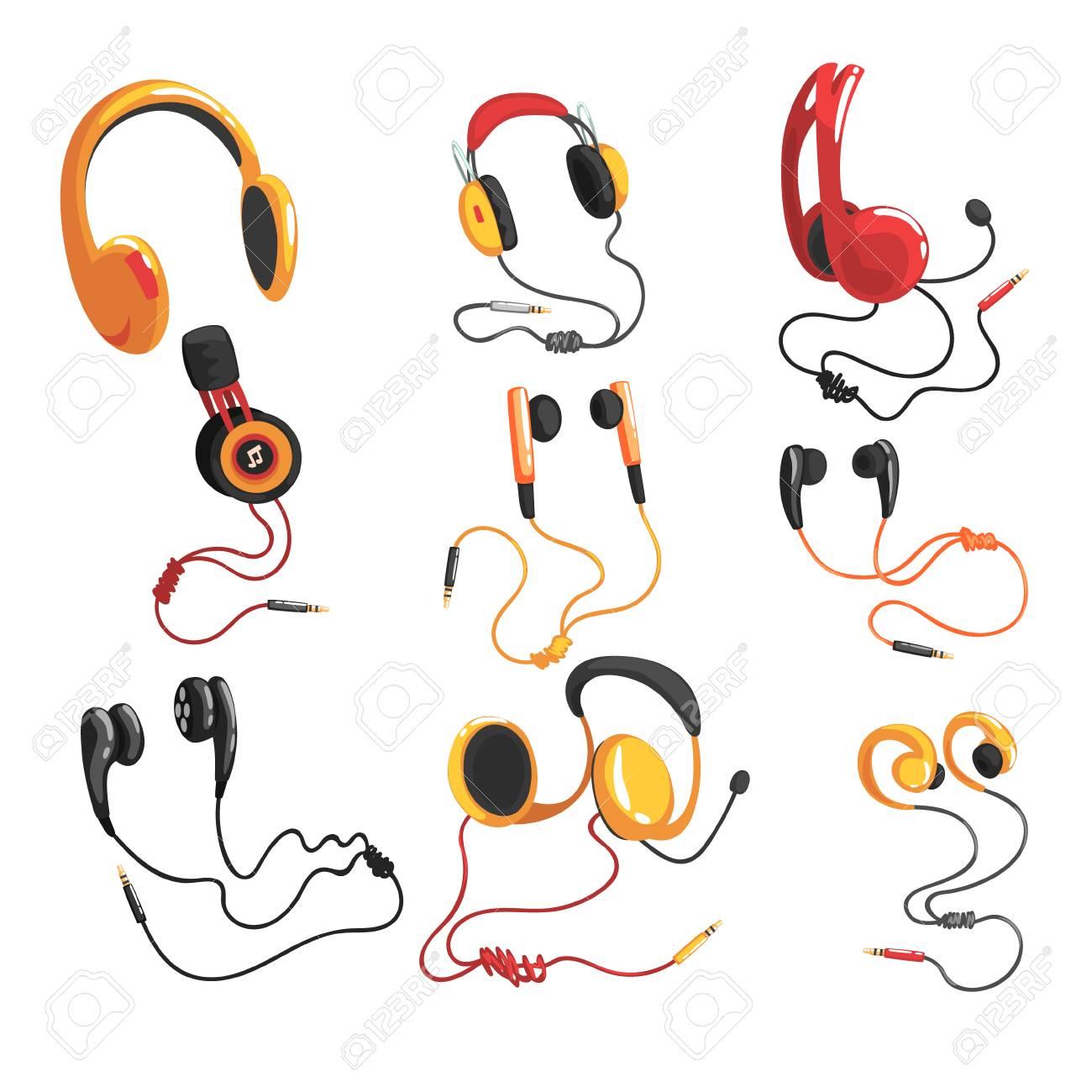 Kopfhörer Und Kopfhörer Stellten, Musiktechnologie-Zusatzvektor ...