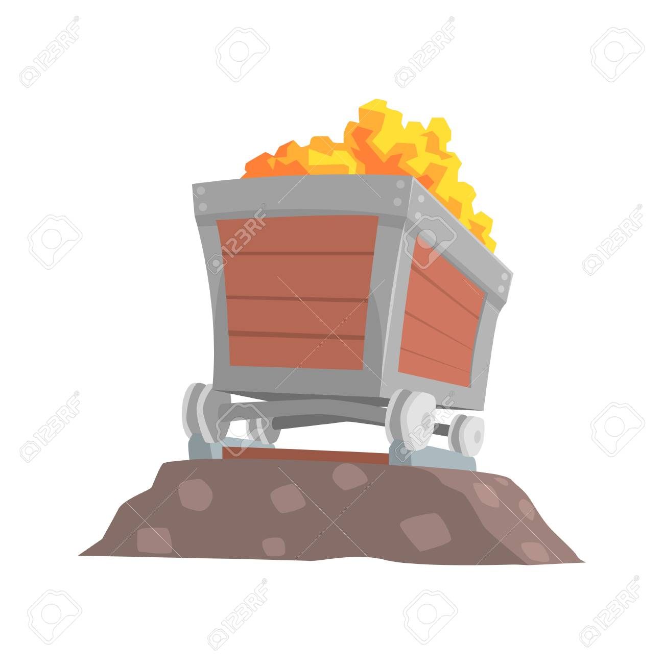 Retro Wooden Wagon With Gold Ore Mining Industry Concept Cartoon