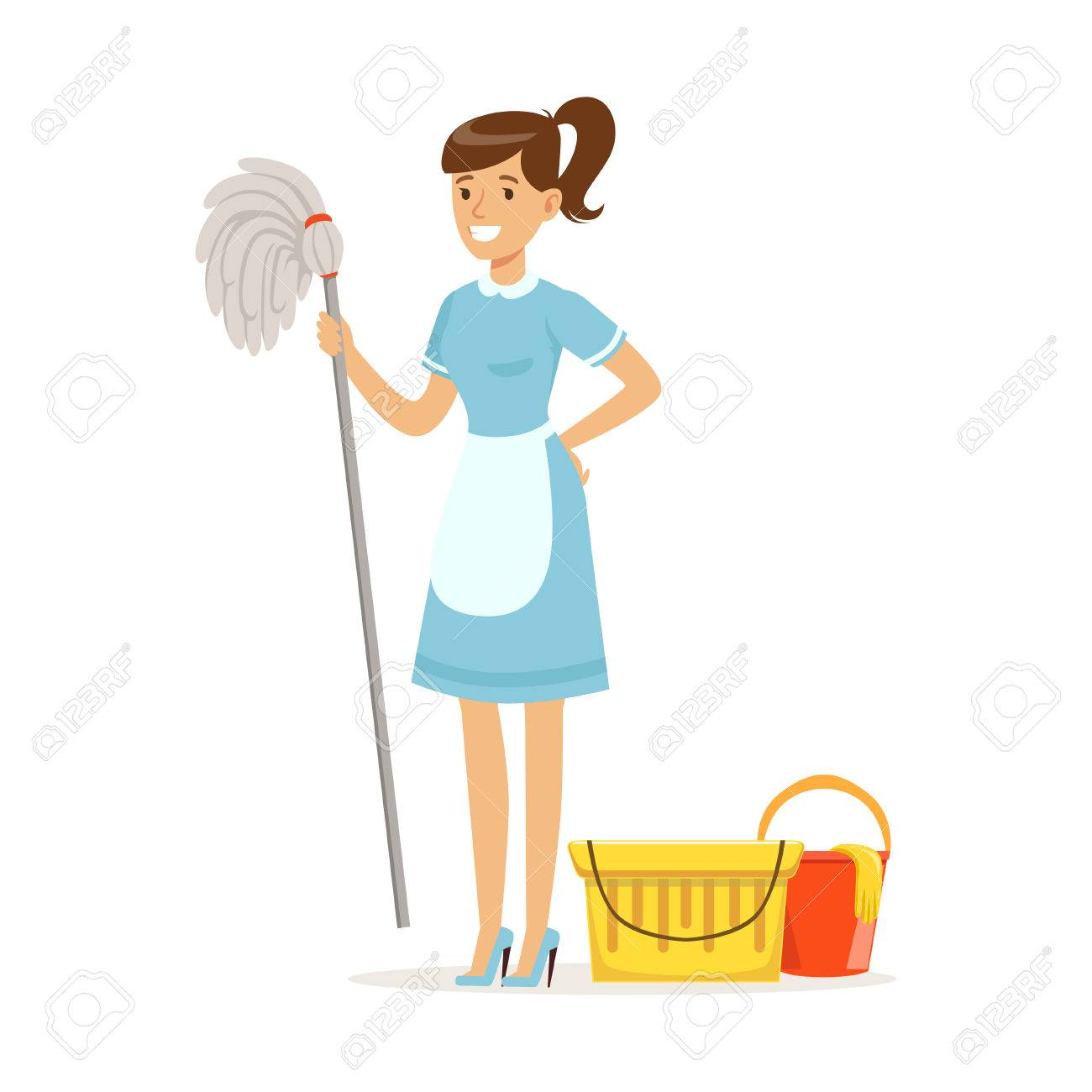 Smiling housekeeping maid character wearing uniform with bucket and mop, cleaning service of hotel vector Illustration on a white background - 85723159