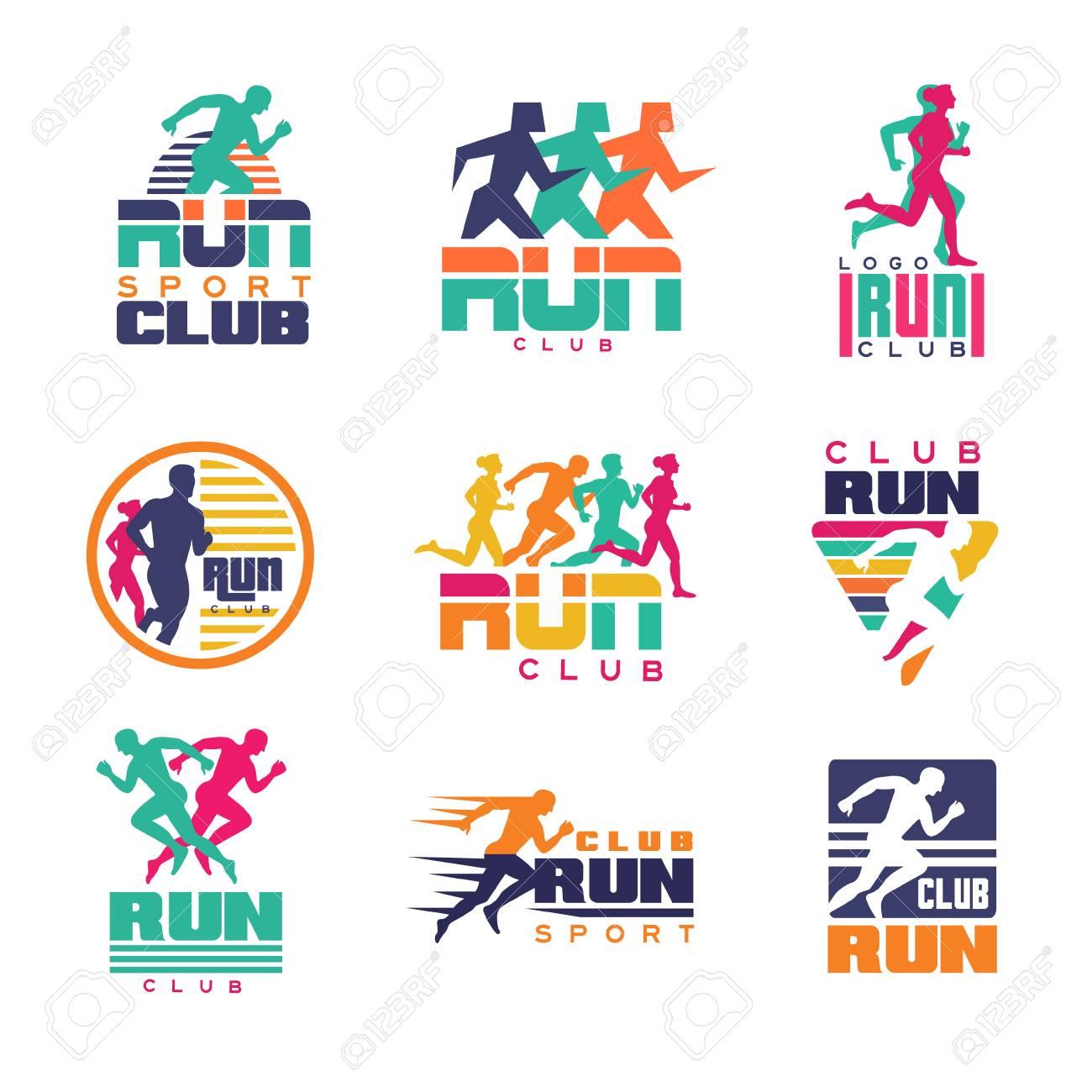 Run Sport Club Logo Templates Set Emblems For Sport Organizations