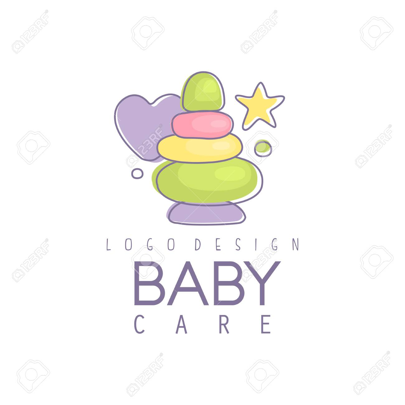 Baby Care Logo Design Emblem With Colorful Pyramid Toy Label