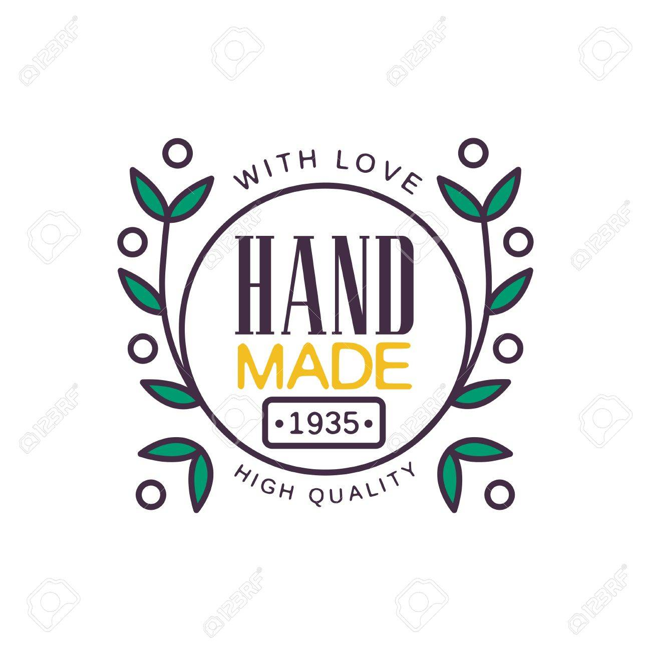Handmade With Love Logo Template High Quality Since 1935 Retro