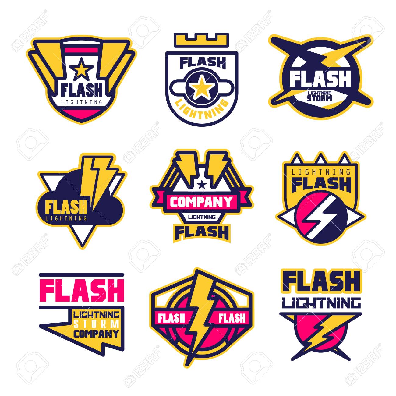 Flash Lightning Company Logo Design Template Elements And Symbols For Electrical Engineering