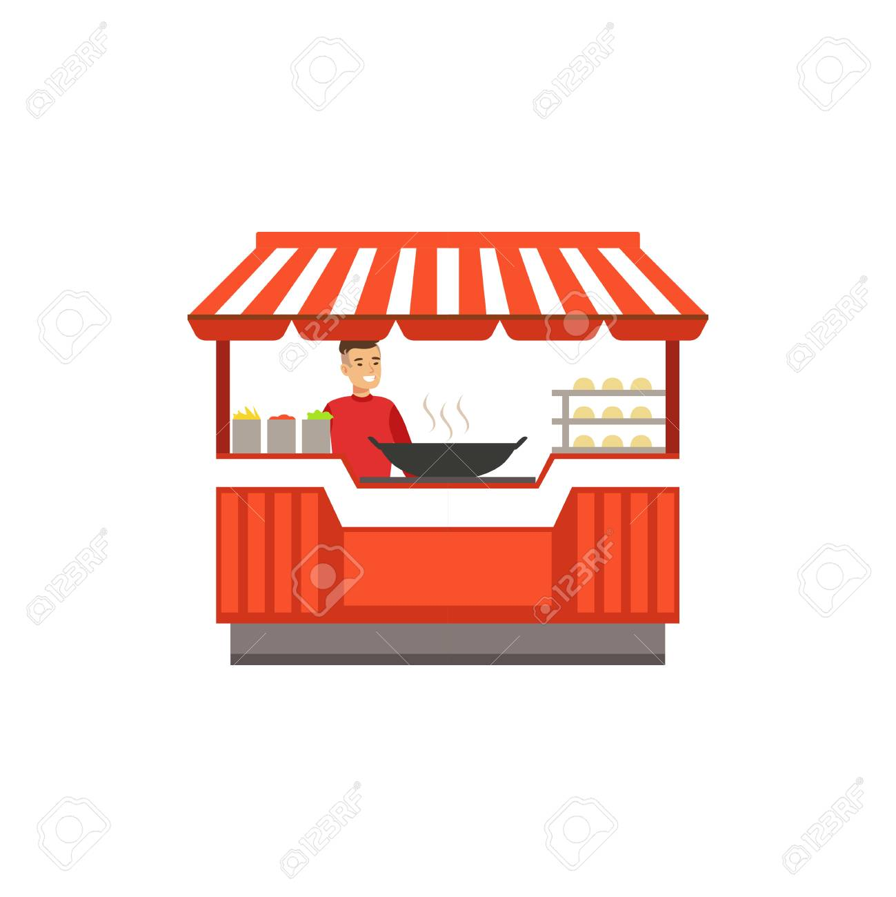 Flat street food kiosk with barbecue
