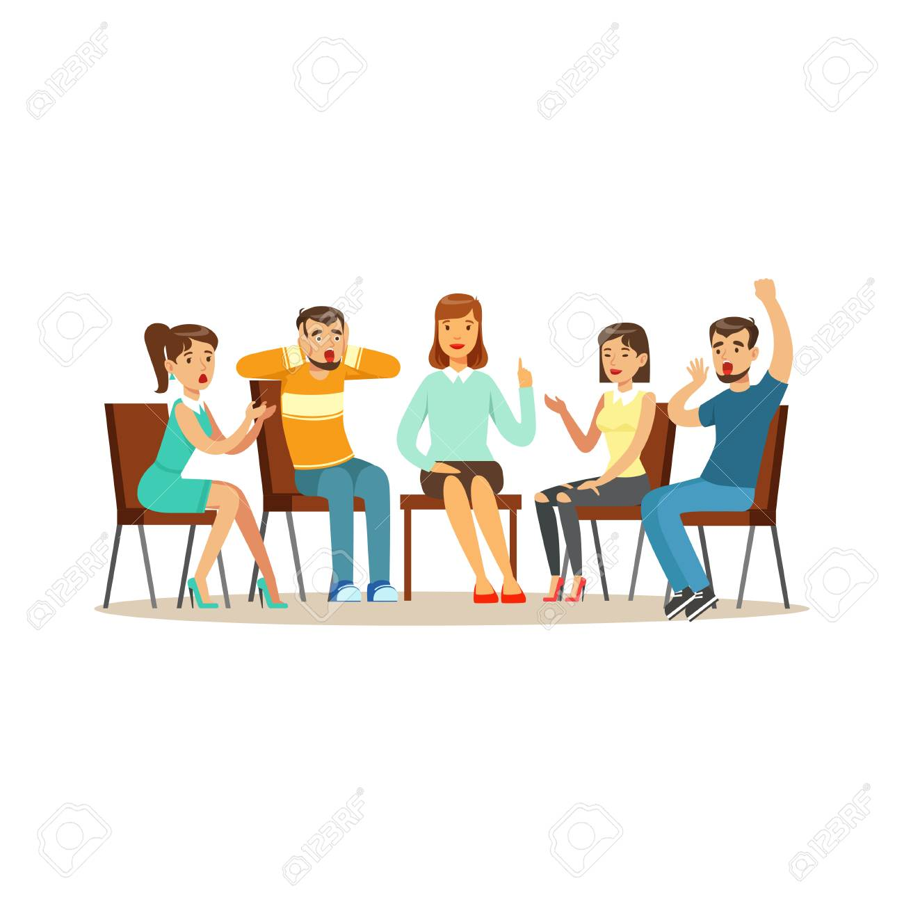 Support group therapy, psychologist counseling people with various phobias vector Illustration - 87668779