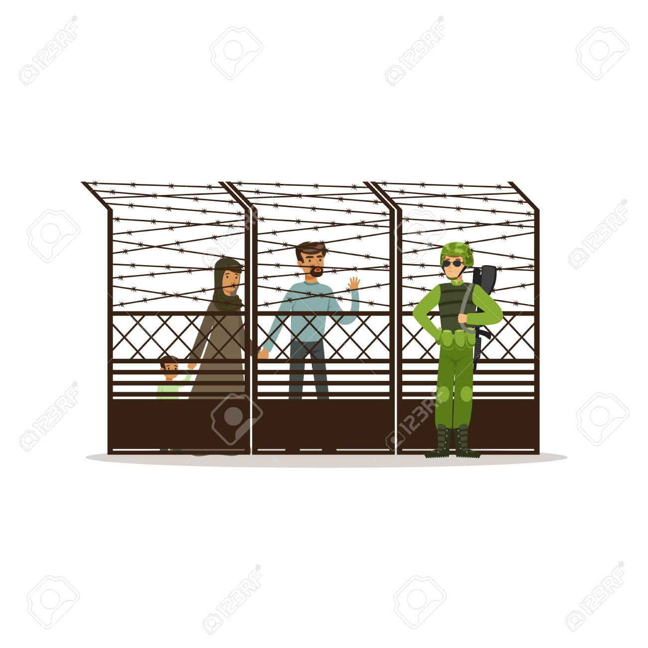Stateless Refugee Family Facing The Barbed Wire Fence, Refugee ...