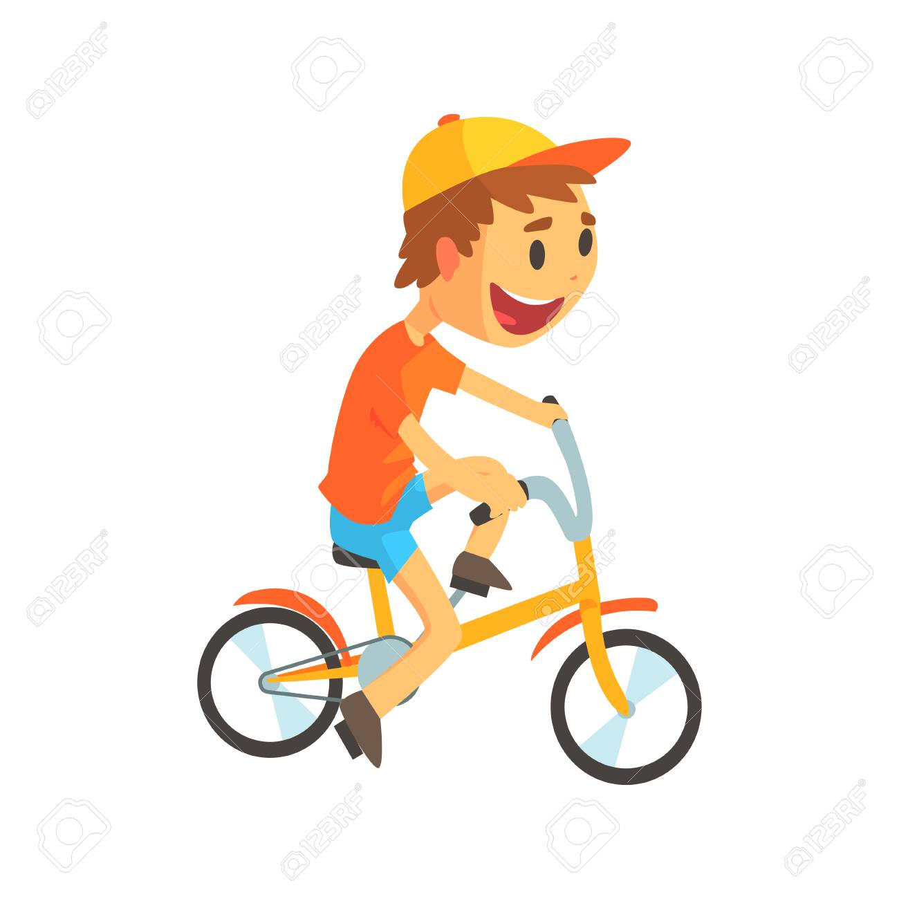 Funny little boy in yellow baseball cap riding bicycle. Kid cycling. Child  outdoor activities 42f53dac8615