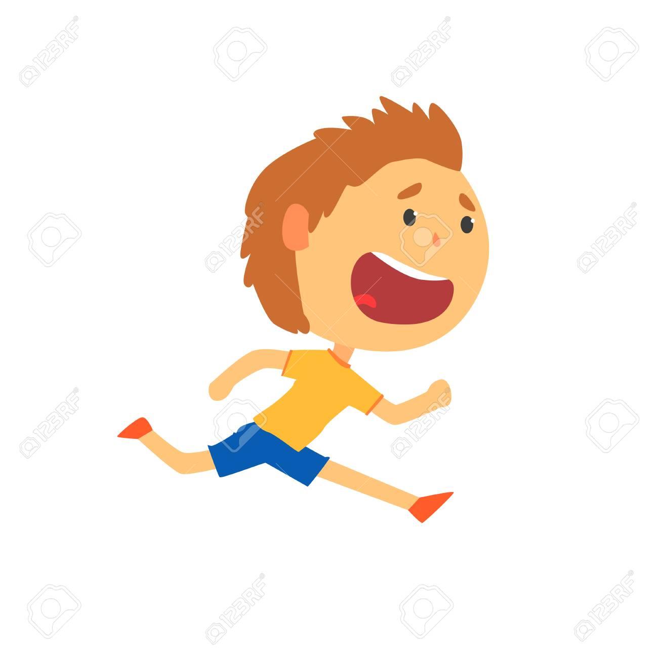 Nino Feliz Corriendo Ninos Actividad Fisica Vector De Dibujos Animados Ilustraciones Vectoriales Clip Art Vectorizado Libre De Derechos Image 88055642