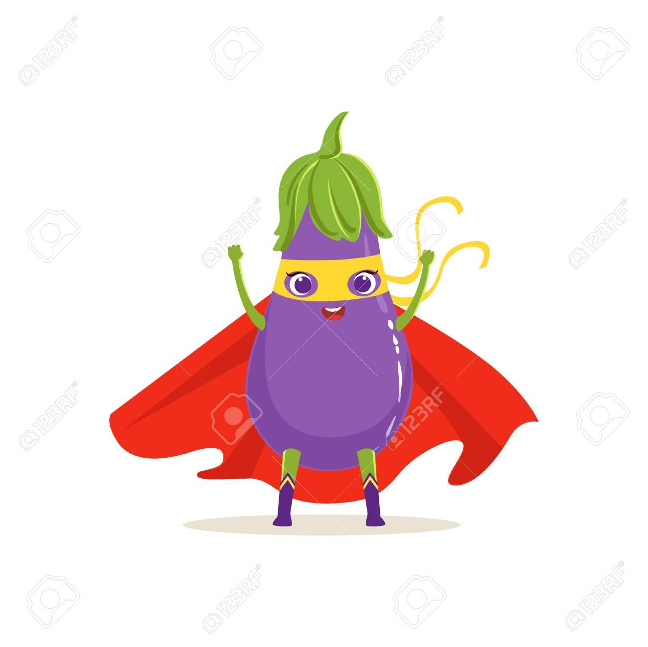 Aubergine Dessin personnage de dessin animé d'aubergine de super-héros en cape rouge