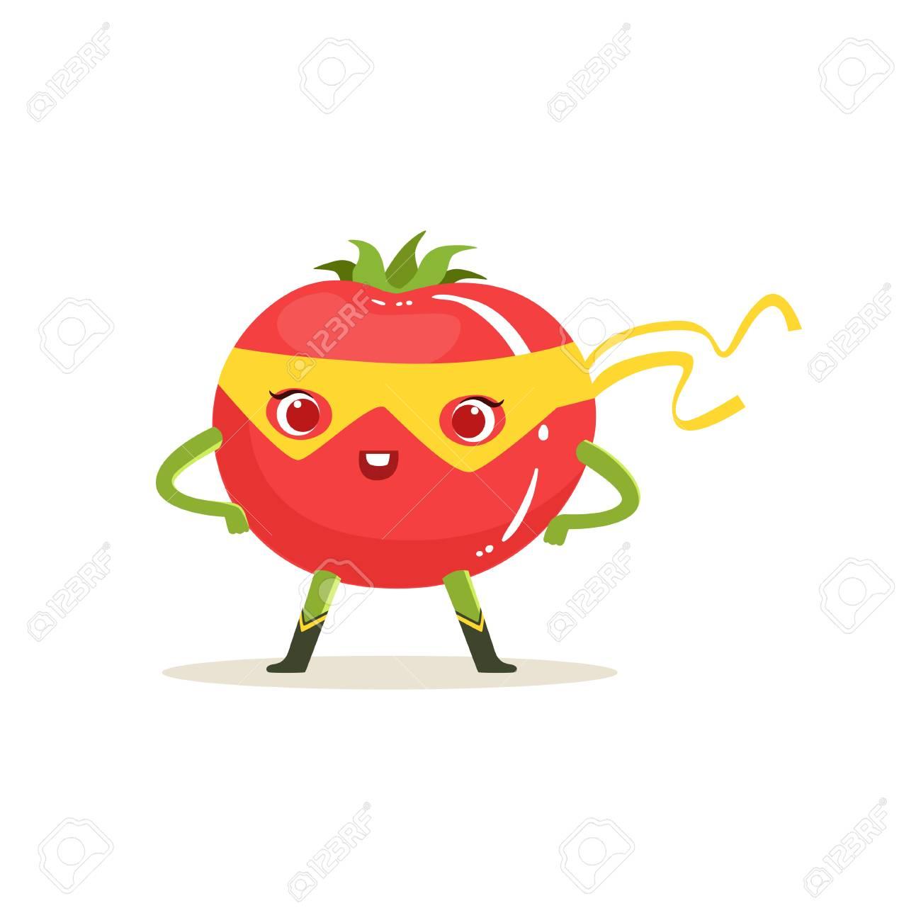 Personnage De Dessin Animé De Tomate Super-héros Avec Les Bras Akimbo Clip  Art Libres De Droits , Vecteurs Et Illustration. Image 88088786.