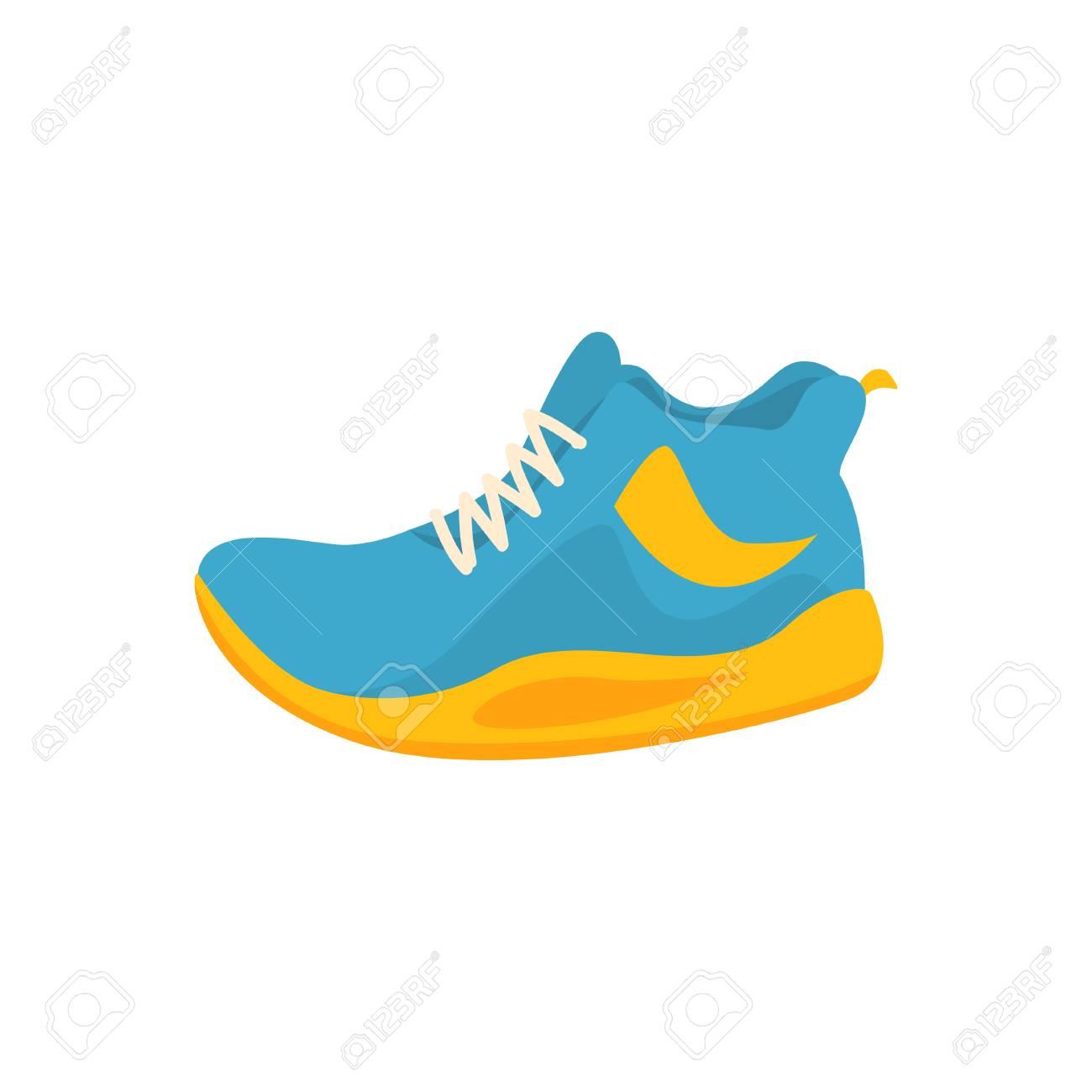 Icône de baskets sport bleu et jaune dans un style plat. Chaussures de fitness pour le jeu actif. Chaussures pour courir, s'entraîner, volleyball. ?