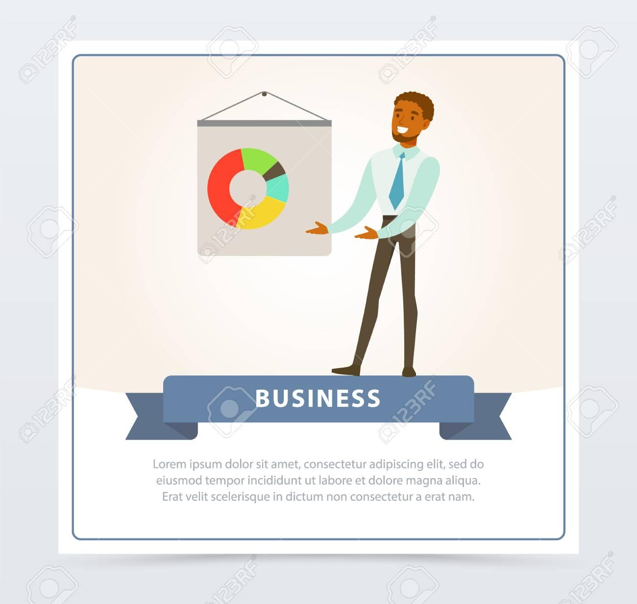 Businessman making presentation and explaining chart on a whiteboard,