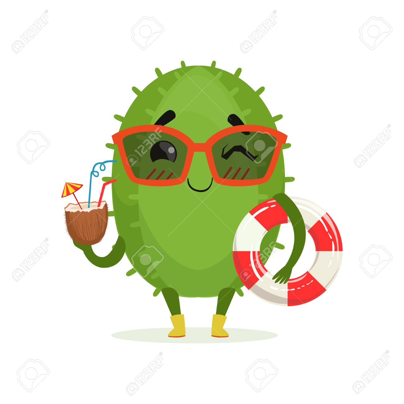 8518f6063ef Cute cactus in sunglasses holding lifebuoy and cocktail, funny..