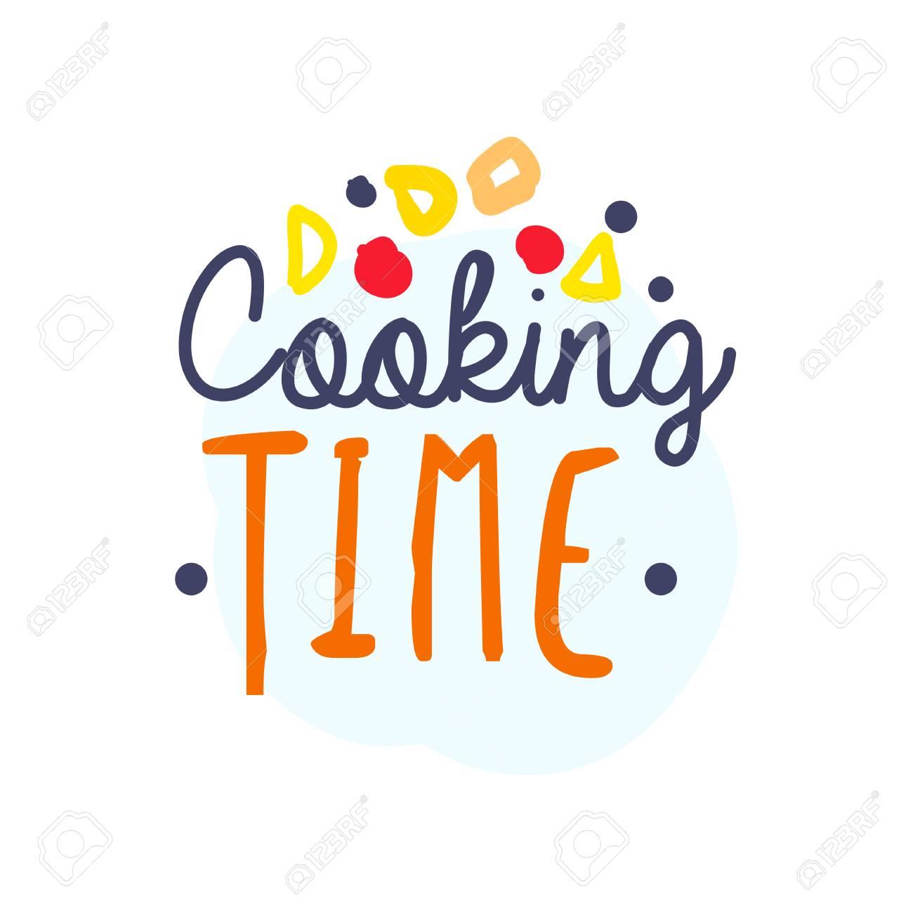 Colorful Handmade Badge Or Label Design For Cooking Food Handwritten Lettering Logo