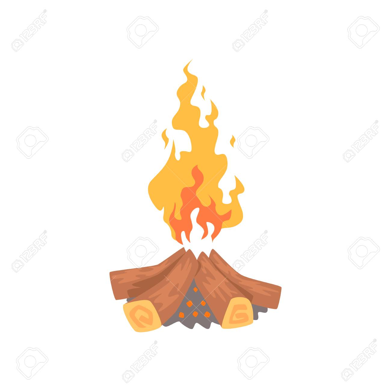 Burning Feu De Camp Feux De Camp Vecteur De Dessin Anime Clip Art