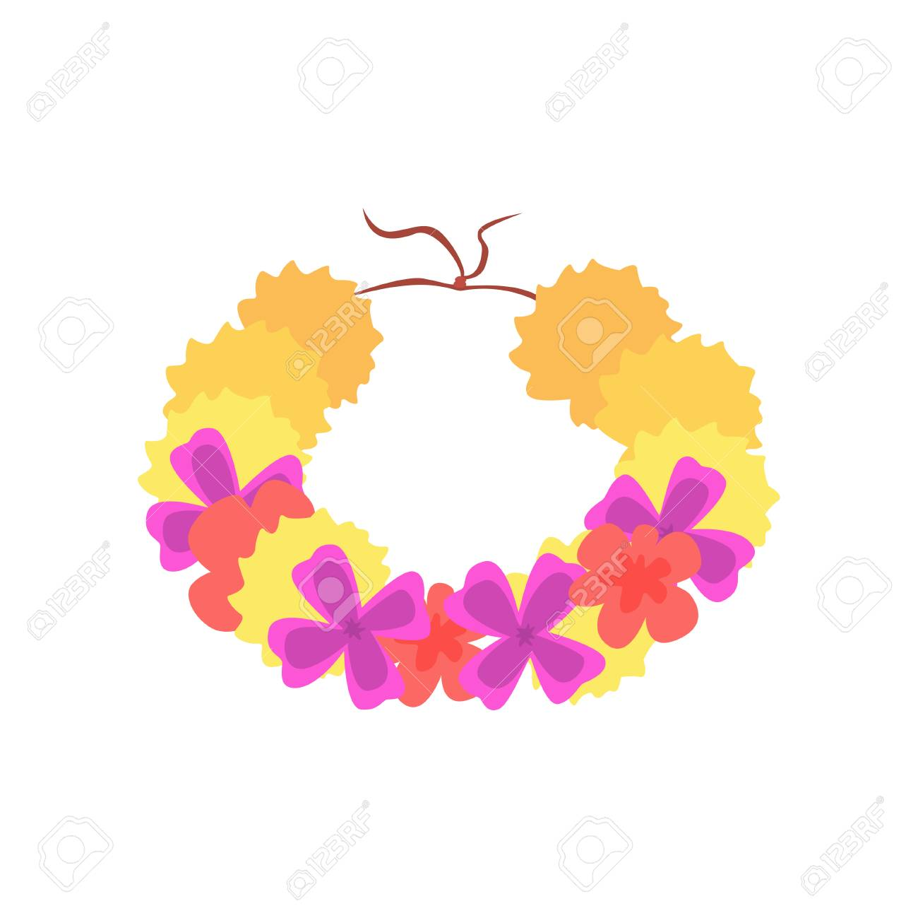 Hawaiian lei with bright colorful flowers traditional necklace hawaiian lei with bright colorful flowers traditional necklace cartoon vector illustration stock vector 89888000 izmirmasajfo