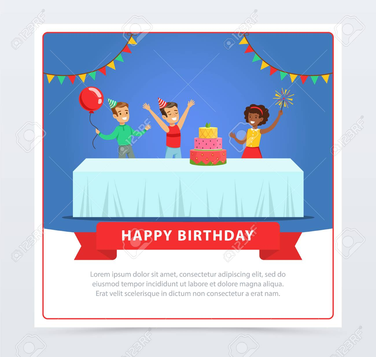 Cute Kids Celebrating Birthday With Cake Happy Banner Flat Vector Element For Website Or