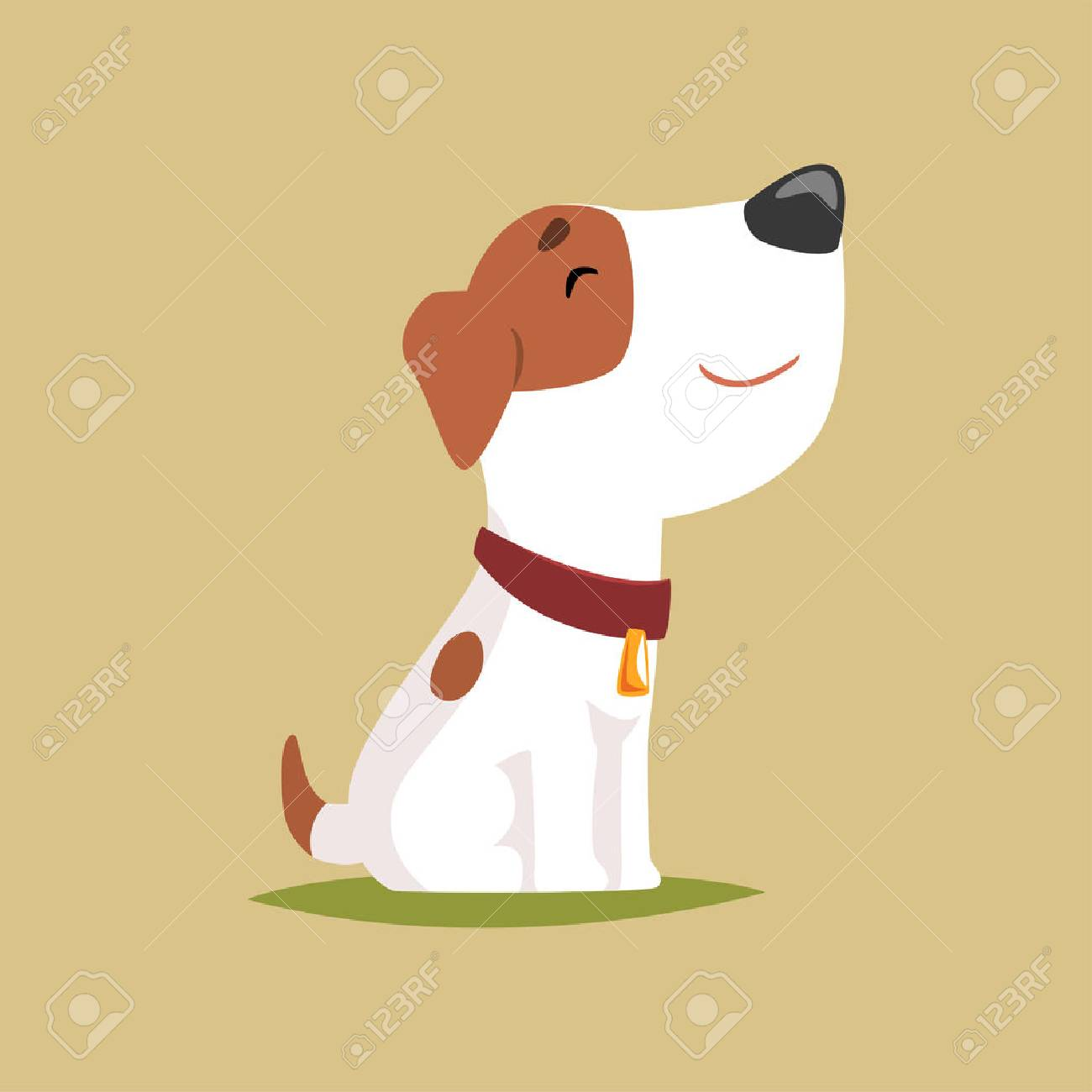 Jack russell puppy character side view, cute funny terrier vector illustration - 90189688