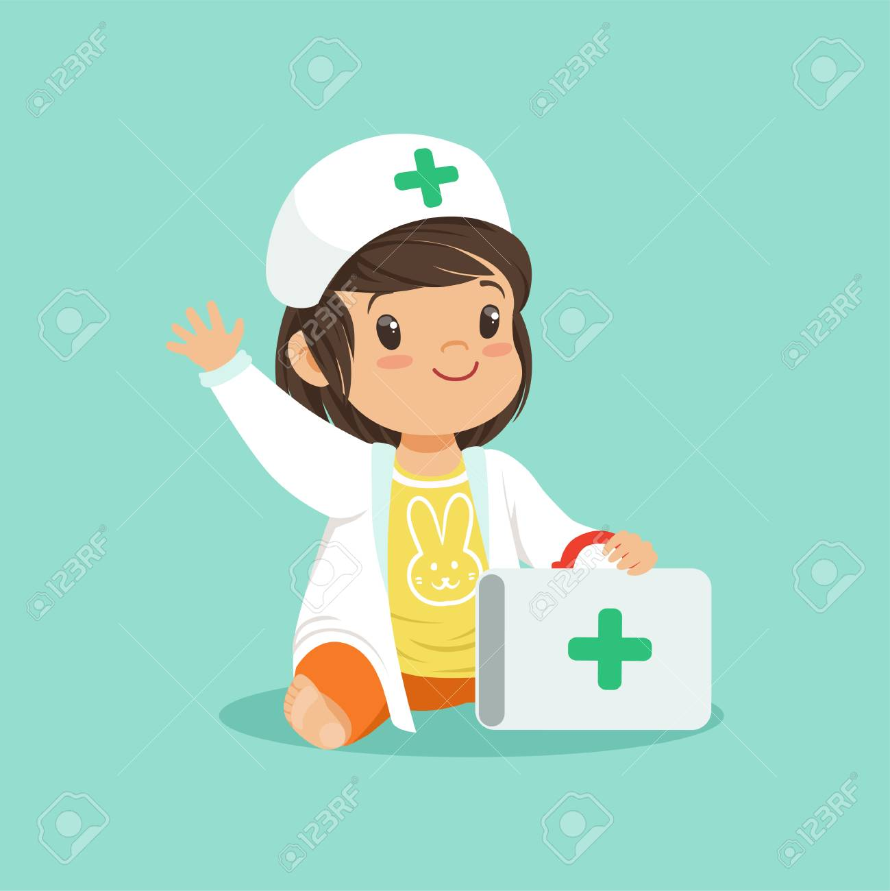 Smiling Toddler Girl Holding Medical Suitcase And Waving Hand - Toddler-cartoon-characters