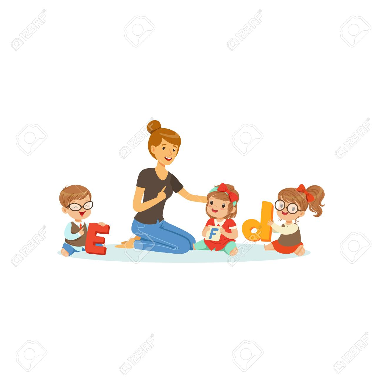 group of preschool kids and teacher sit on carpet and learn letters
