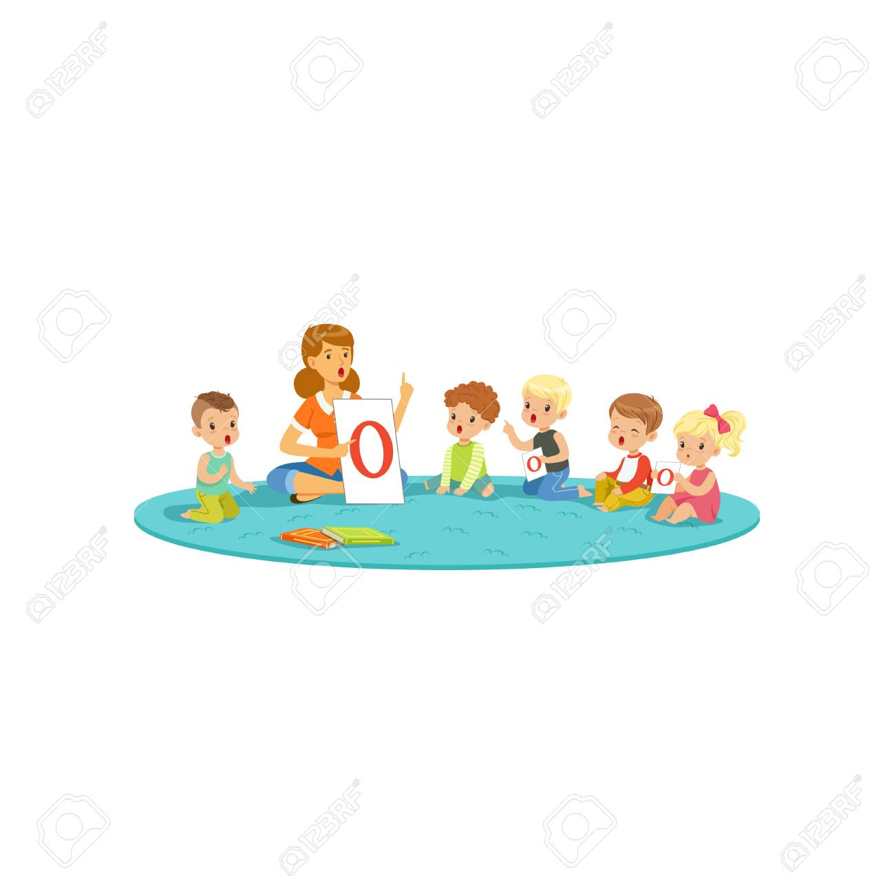 group of little kids sitting on carpet and learning letters with