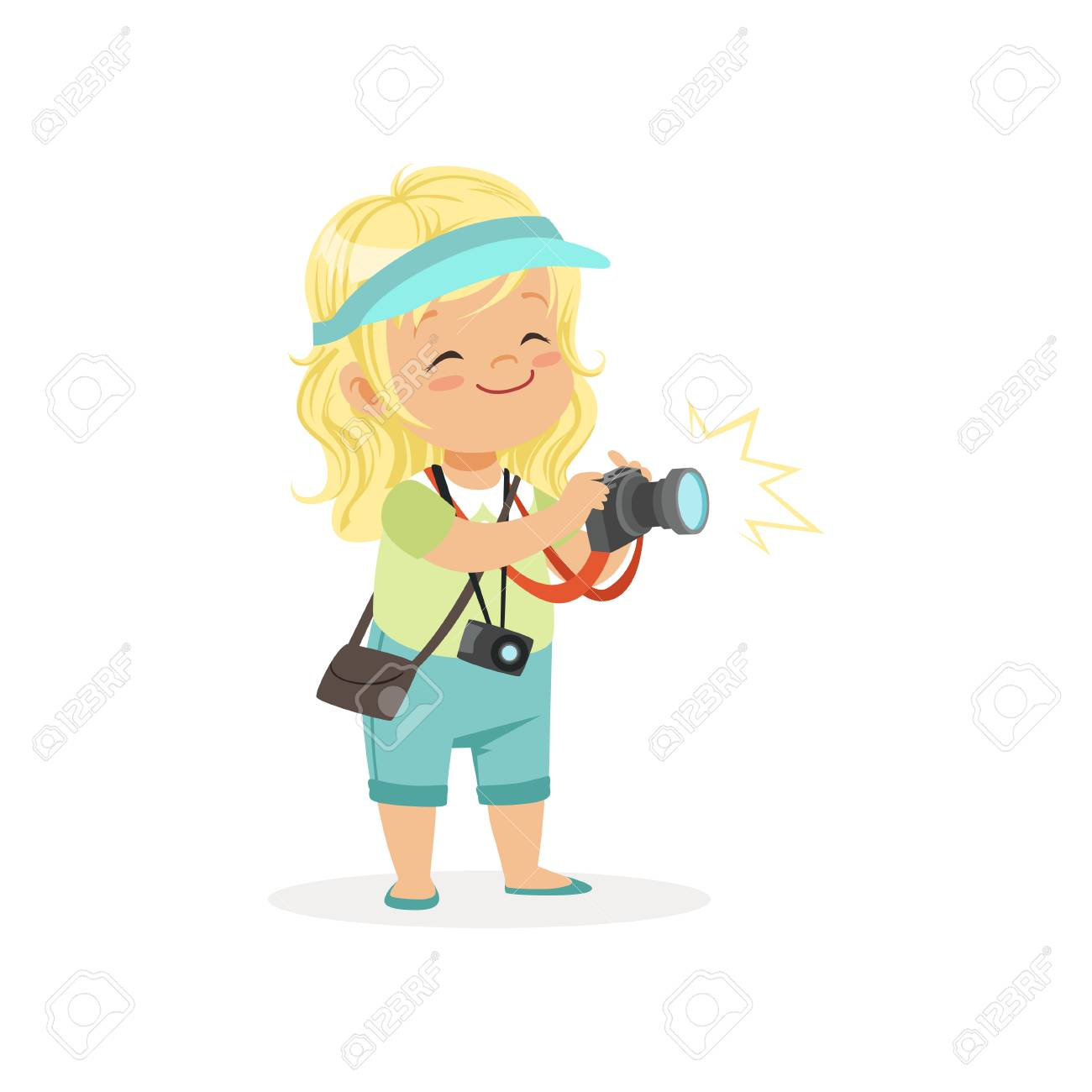 Cartoon flat preschool girl standing with digital photo camera in hands. Photographer or reporter profession concept - 90329229