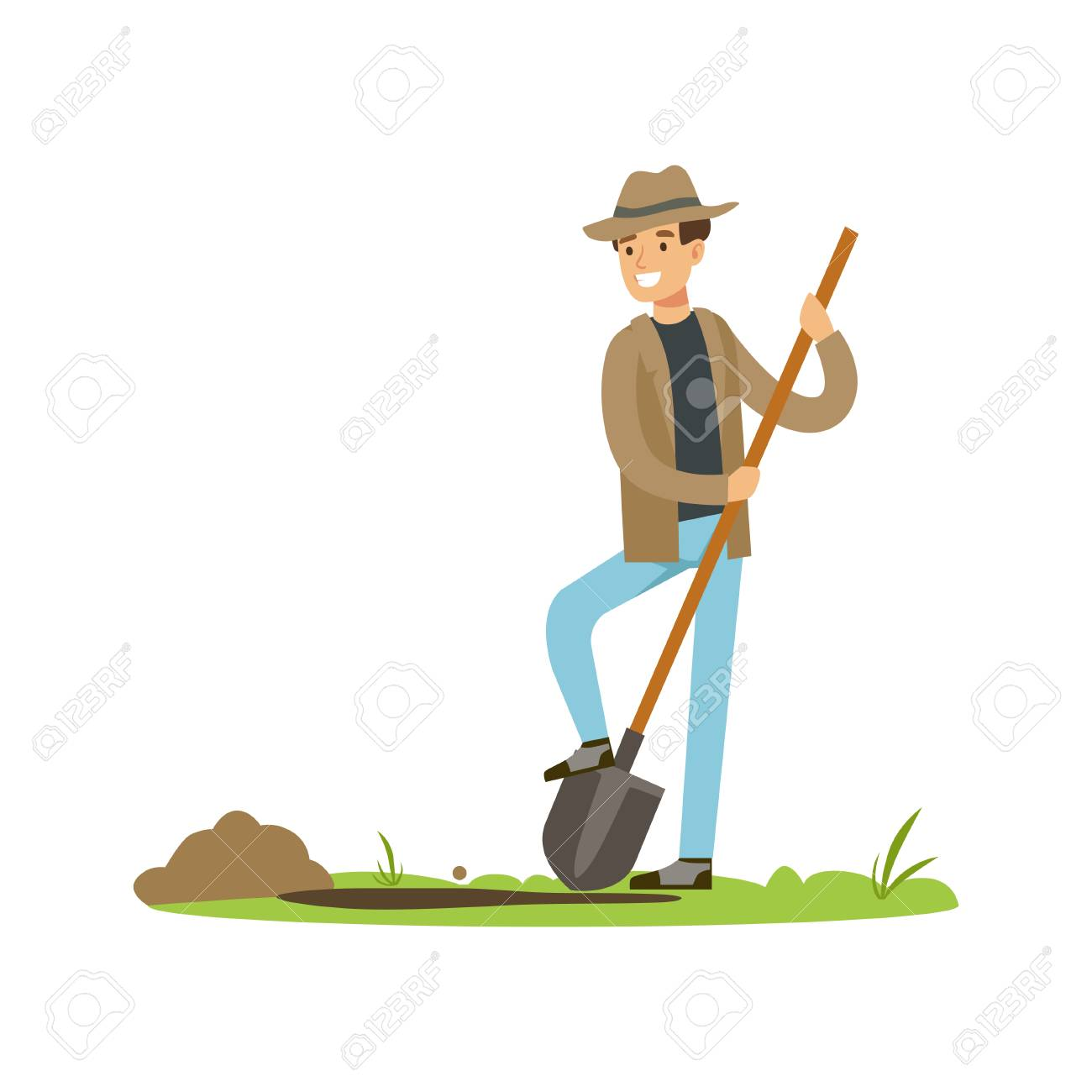 Treasure seeker with shovel in search for buried treasure - 90371788