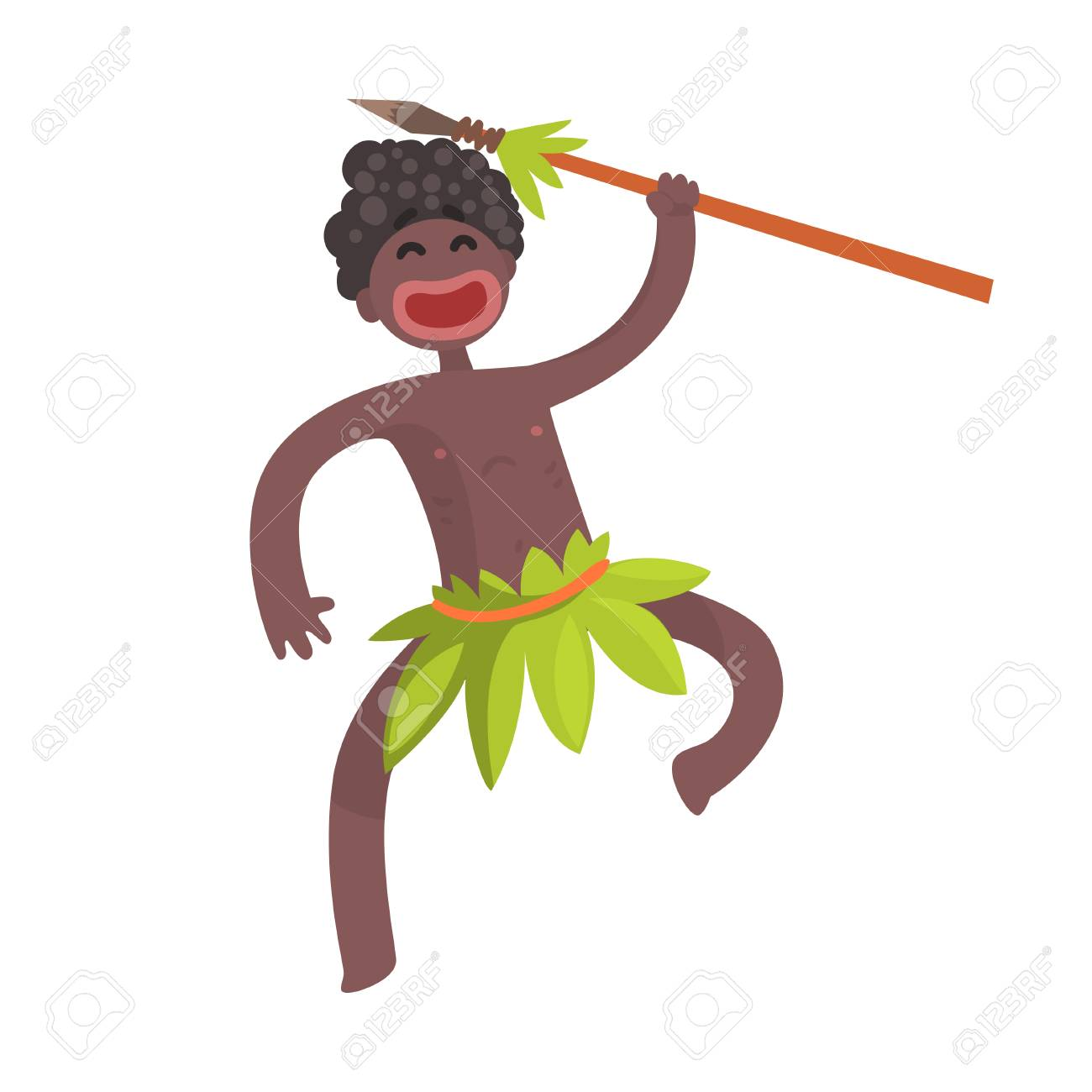 Funny black skinned aboriginal warrior with weapon - 90371809