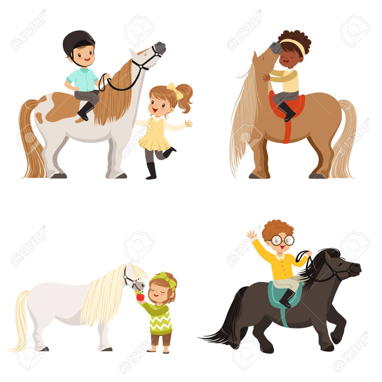 Cute little children riding ponies and taking care of their horses set, equestrian sport, vector Illustrations - 90579209