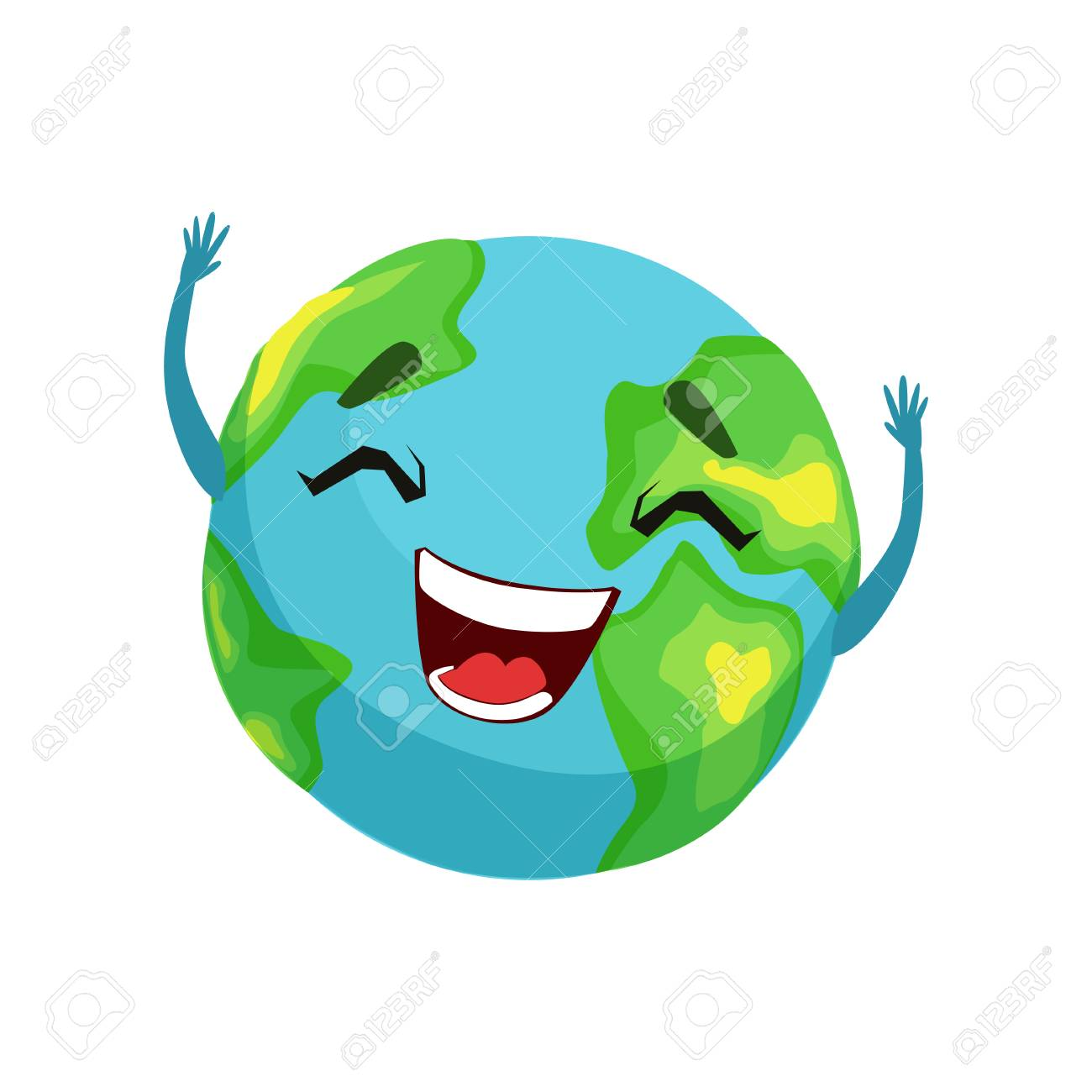 Happy Earth planet character, cute globe with smiley face and hands vector Illustration - 90546027