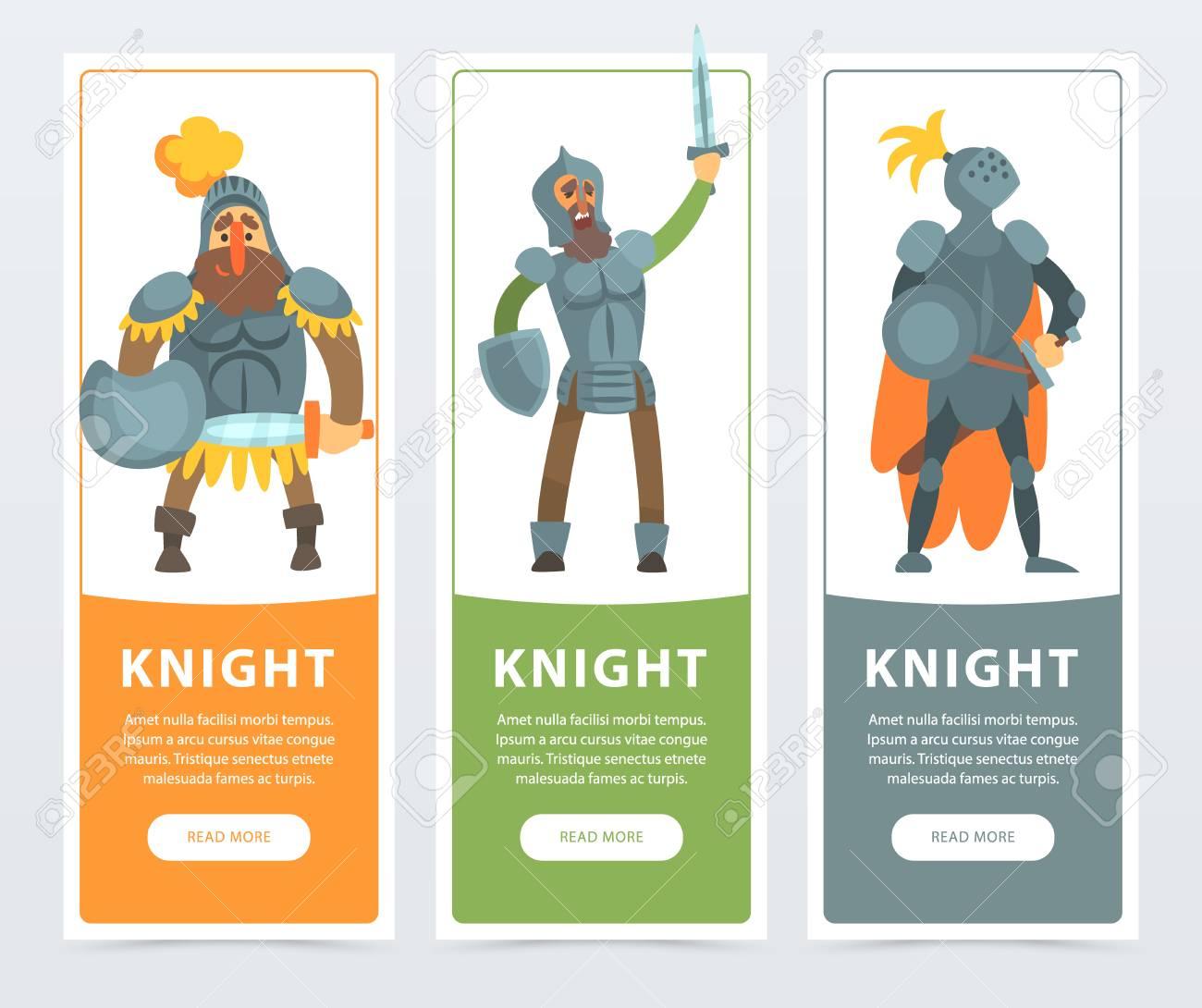 Conjunto De Tres Bandeiras Coloridas Com Cavaleiros Em Armadura