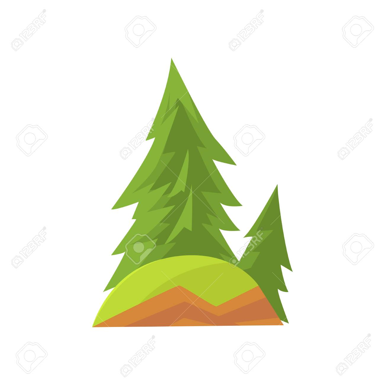 Evergreen Cut Out Vector Tree Illustration - World Wide Clip Art ...