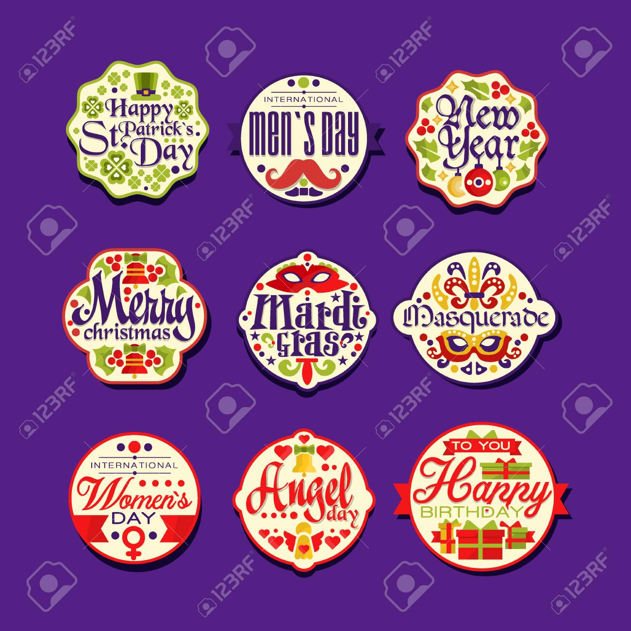 colorful label set for holiday retro design festive stickers with greetings merry christmas