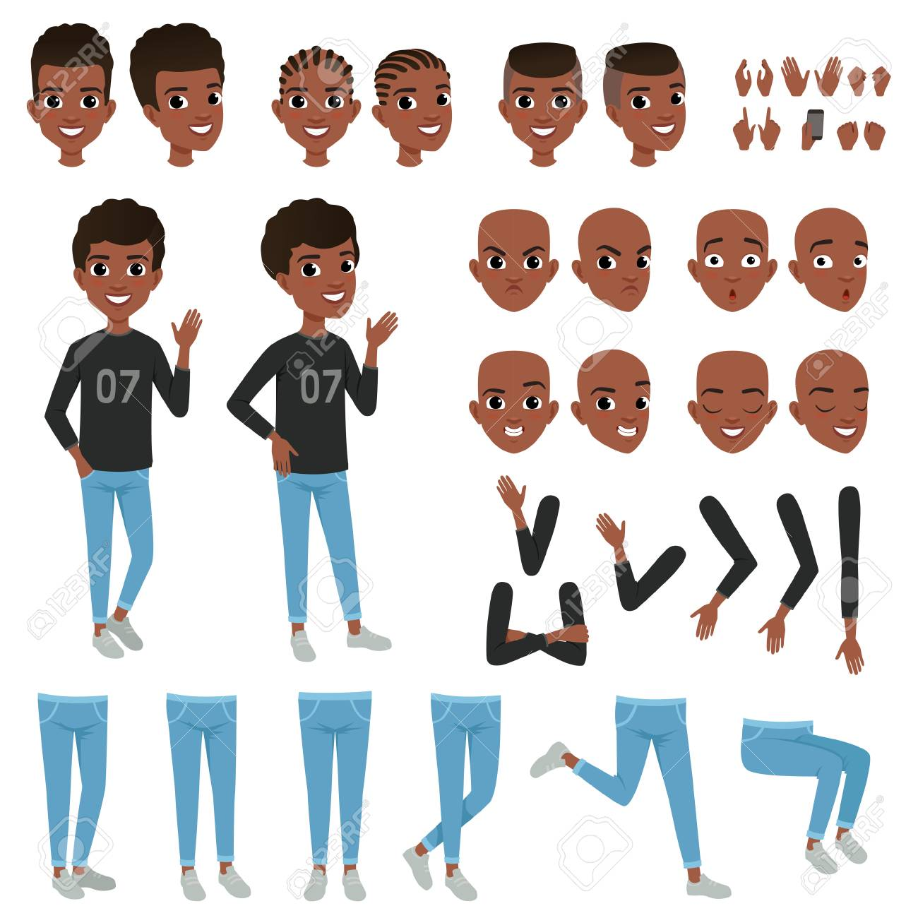 Teenager character constructor. Black boy s separate parts of body arms, legs, heads with different haircuts, hands gestures. Angry, calm, surprised and confident face expression. Flat vector design - 91046033