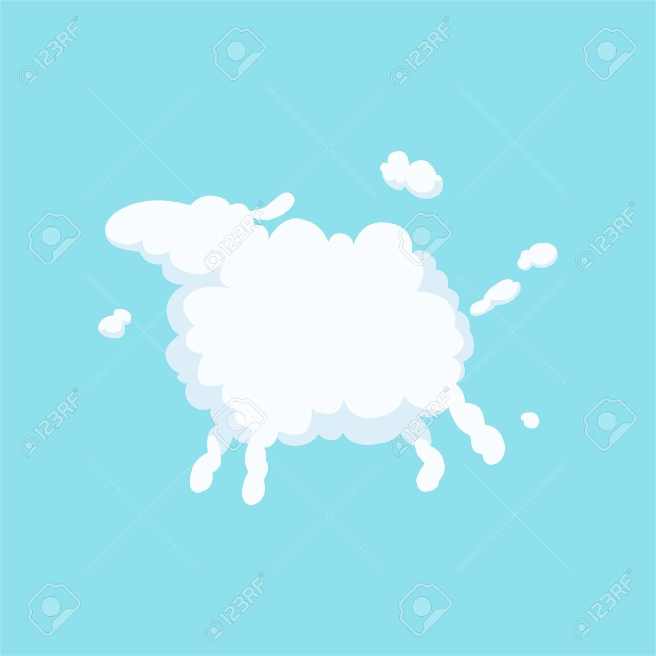 Ovelhas Bonito Dos Desenhos Animados Em Forma De Nuvem Branca Fofa