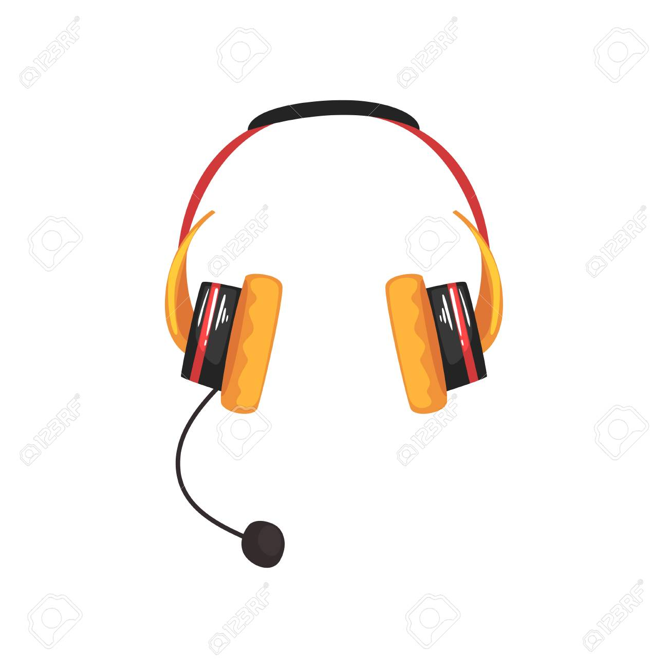 Yellow Wireless Headset Headphones With Microphone Cartoon Vector Royalty Free Cliparts Vectors And Stock Illustration Image 91633411