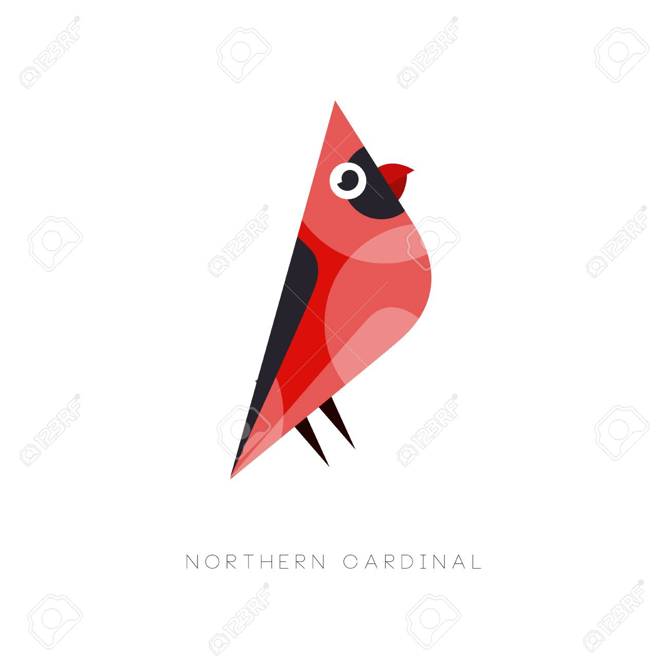 Abstract bird with bright red plumage. Flat vector illustration isolated on white background. Creative graphic element for company label, print or zoo store. - 92442088