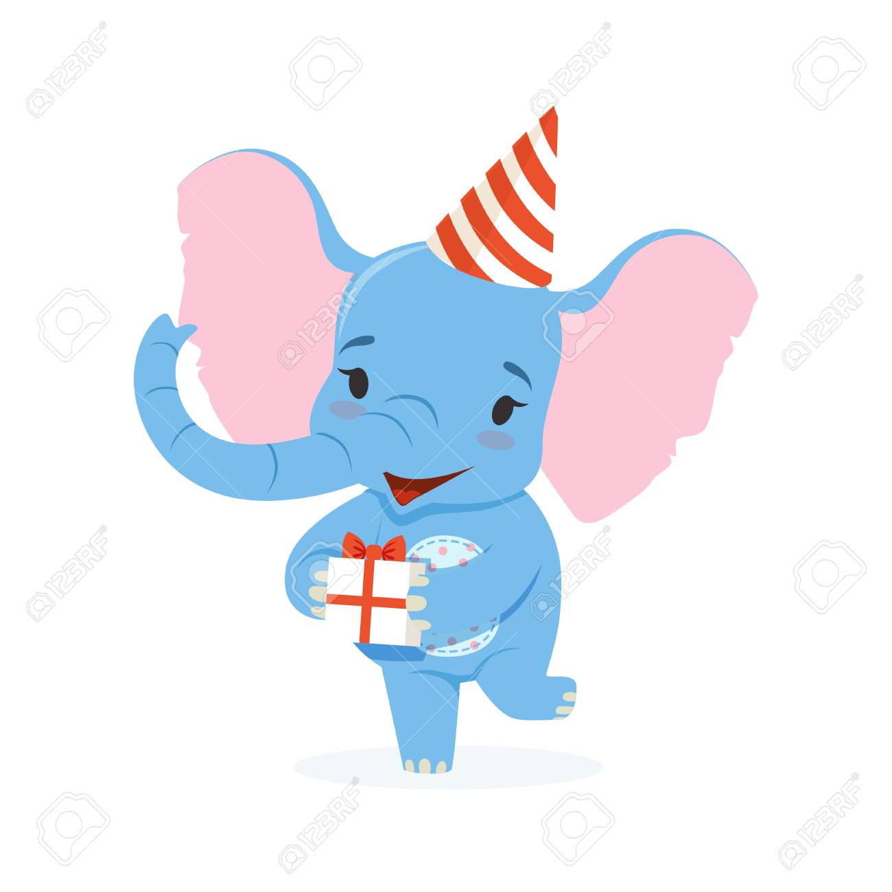 Cute Baby Elephant In A Party Hat Holding Gift Box 8fddb425cb9