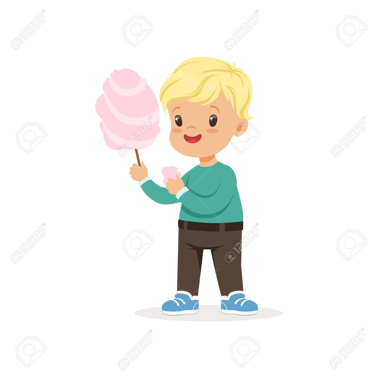 Illustration Du Petit Garçon Blond Avec Des Bonbons En Coton Doux Personnage De Dessin Animé Enfant Portant Un Pull Vert Et Un Pantalon Marron