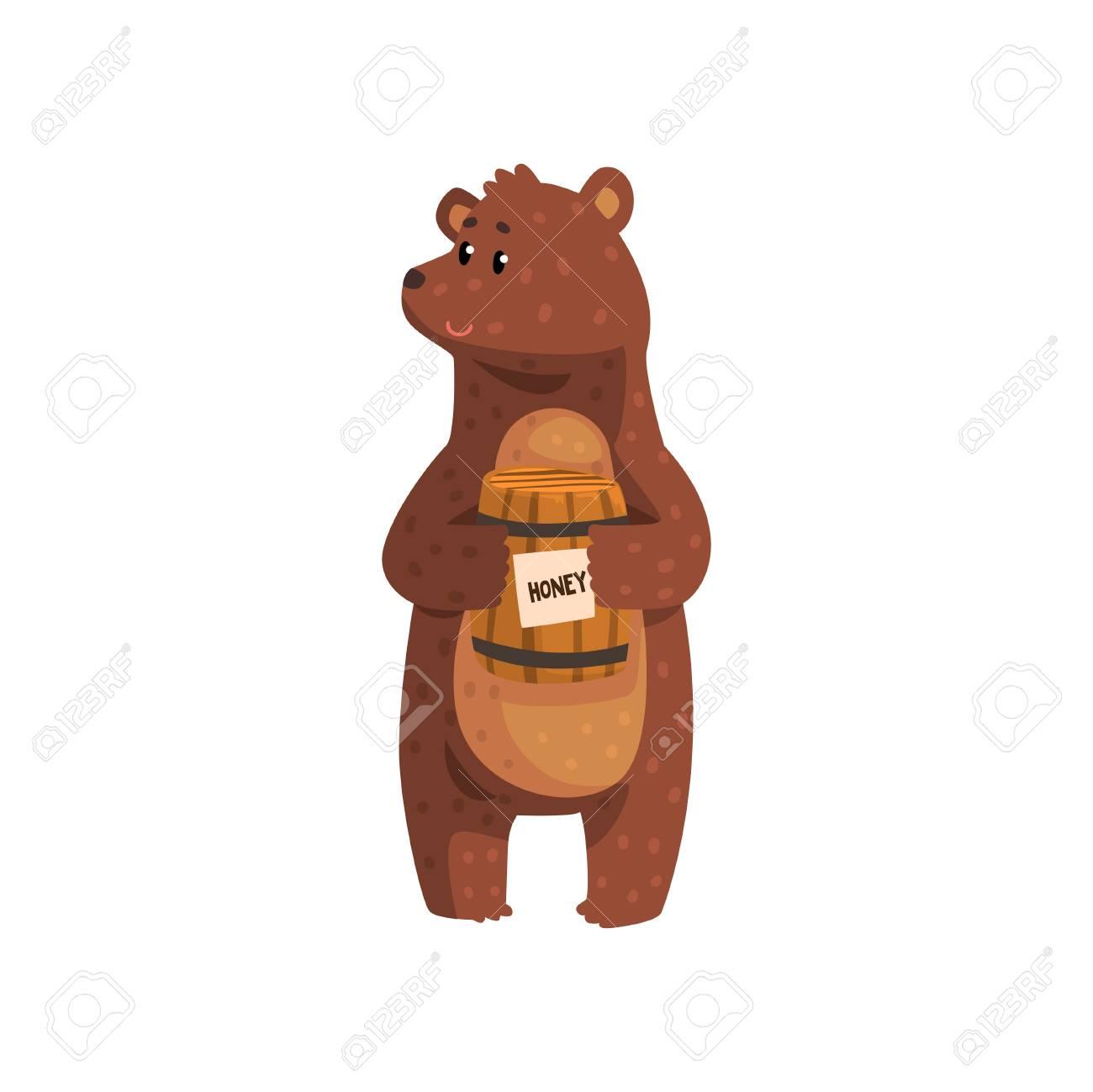 Bear Going Inside Wooden Honey Barrelsurprised Stock Vector (Royalty Free)  745091956