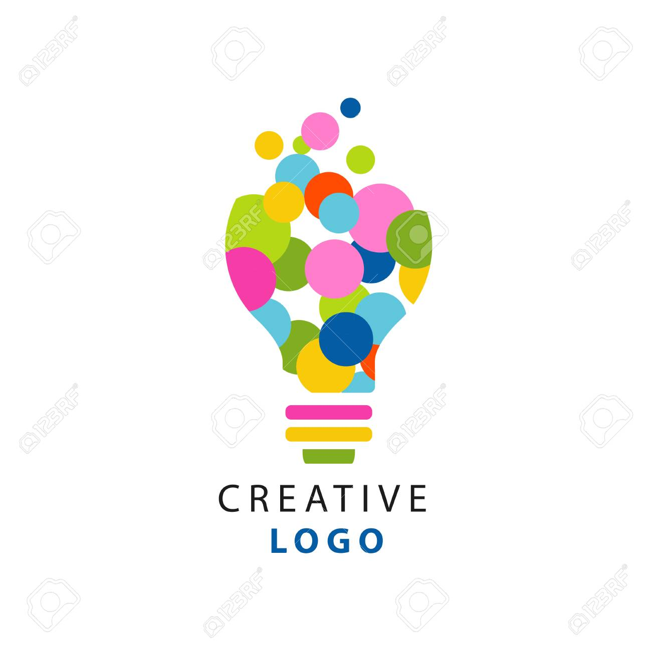 Original illustration of electric light bulb for creative idea logo. Children creativity and development center label. Flat vector isolated on white - 93128318