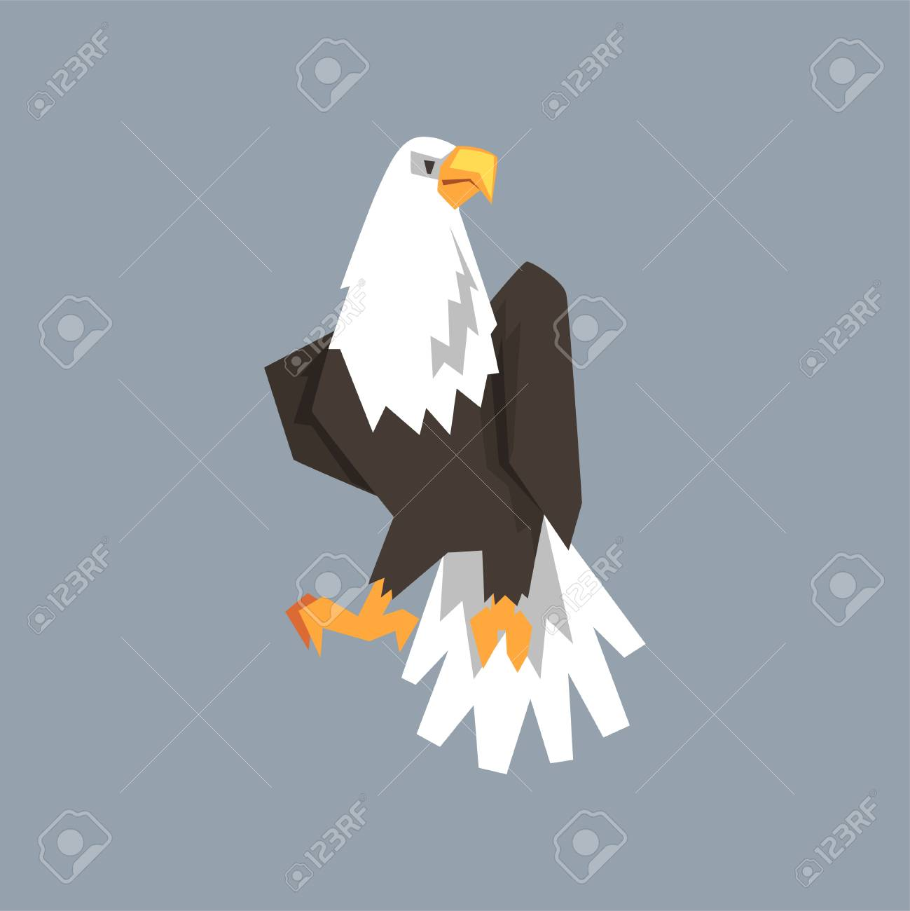 North American Bald Eagle Character Symbol Of Freedom And